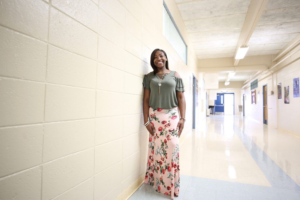 Ebony stands in the hallway of the Clarke County Career Tech Center