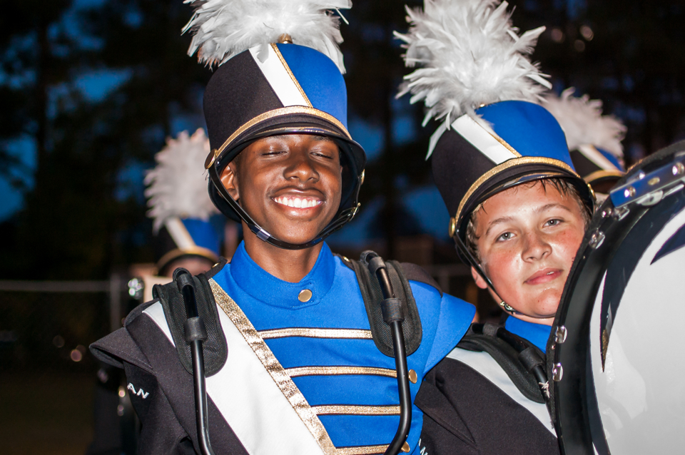 Tyshun with fellow drummer during the 2016-2017 Big Blue Crew marching season.