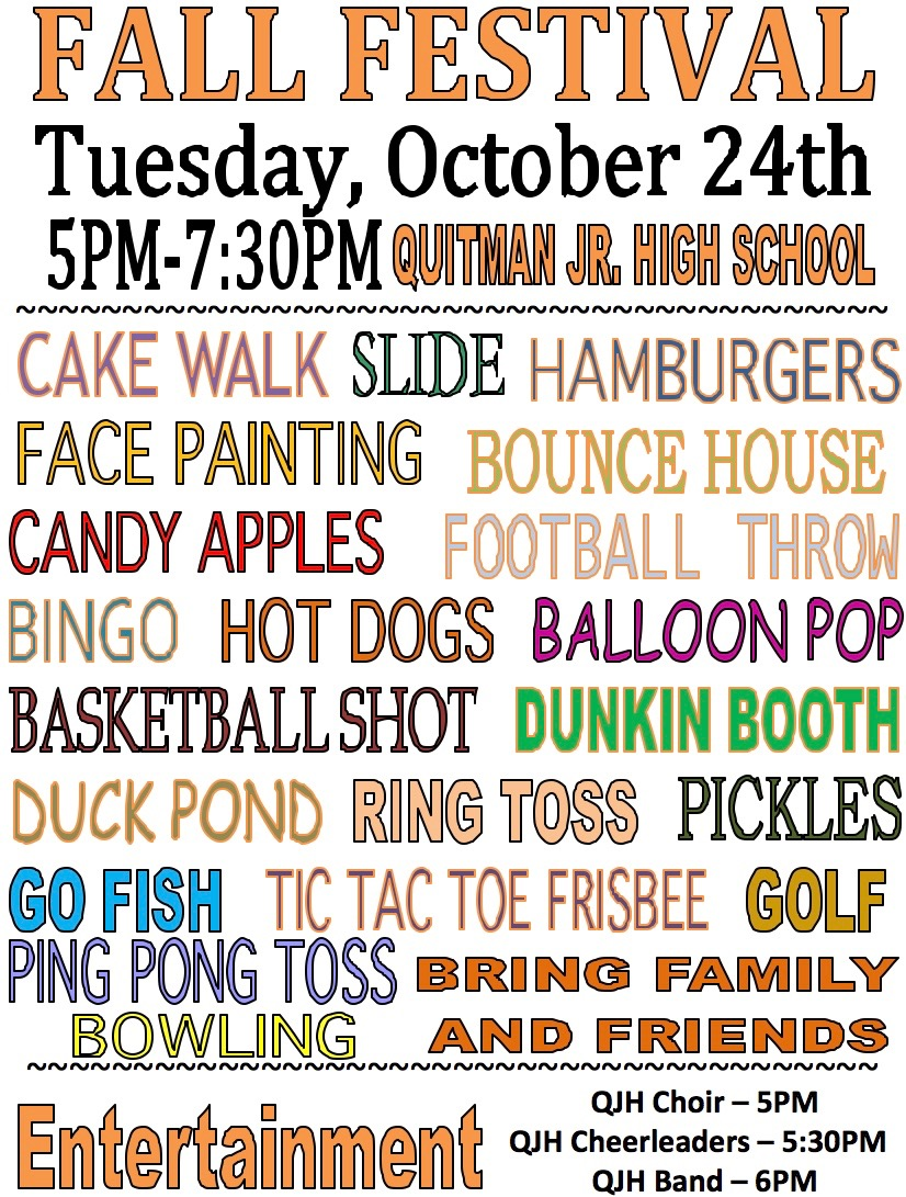 Flyer for the QJH Fall Festival on Tuesday, October 24th.