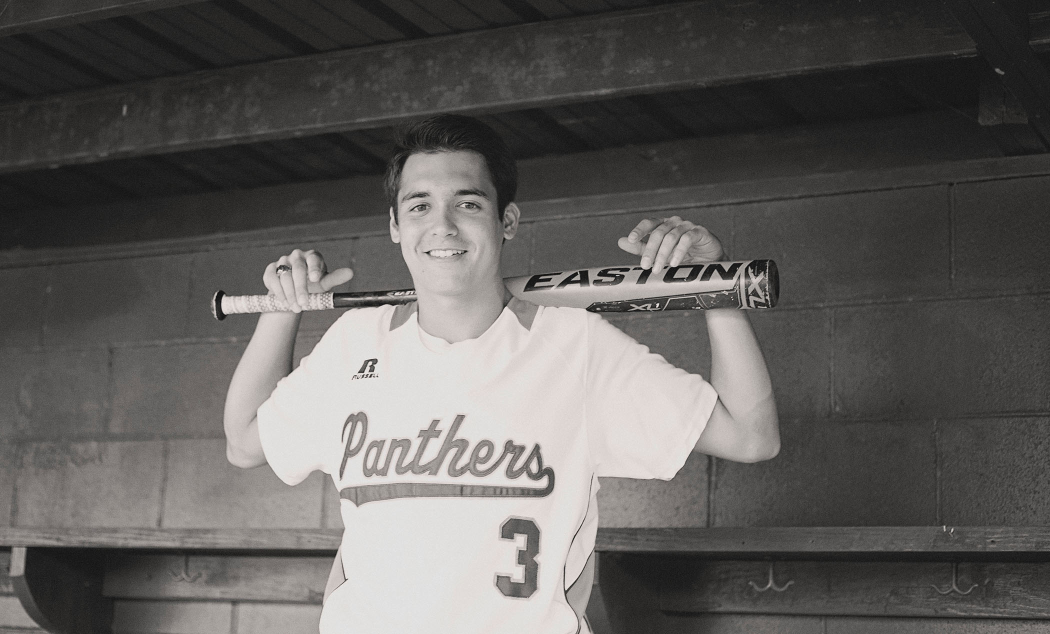 Bradley poses in his Panther baseball uniform.