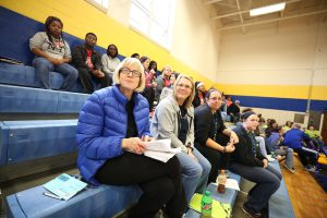 QHS teachers in Panther Gym on Celebration Day.