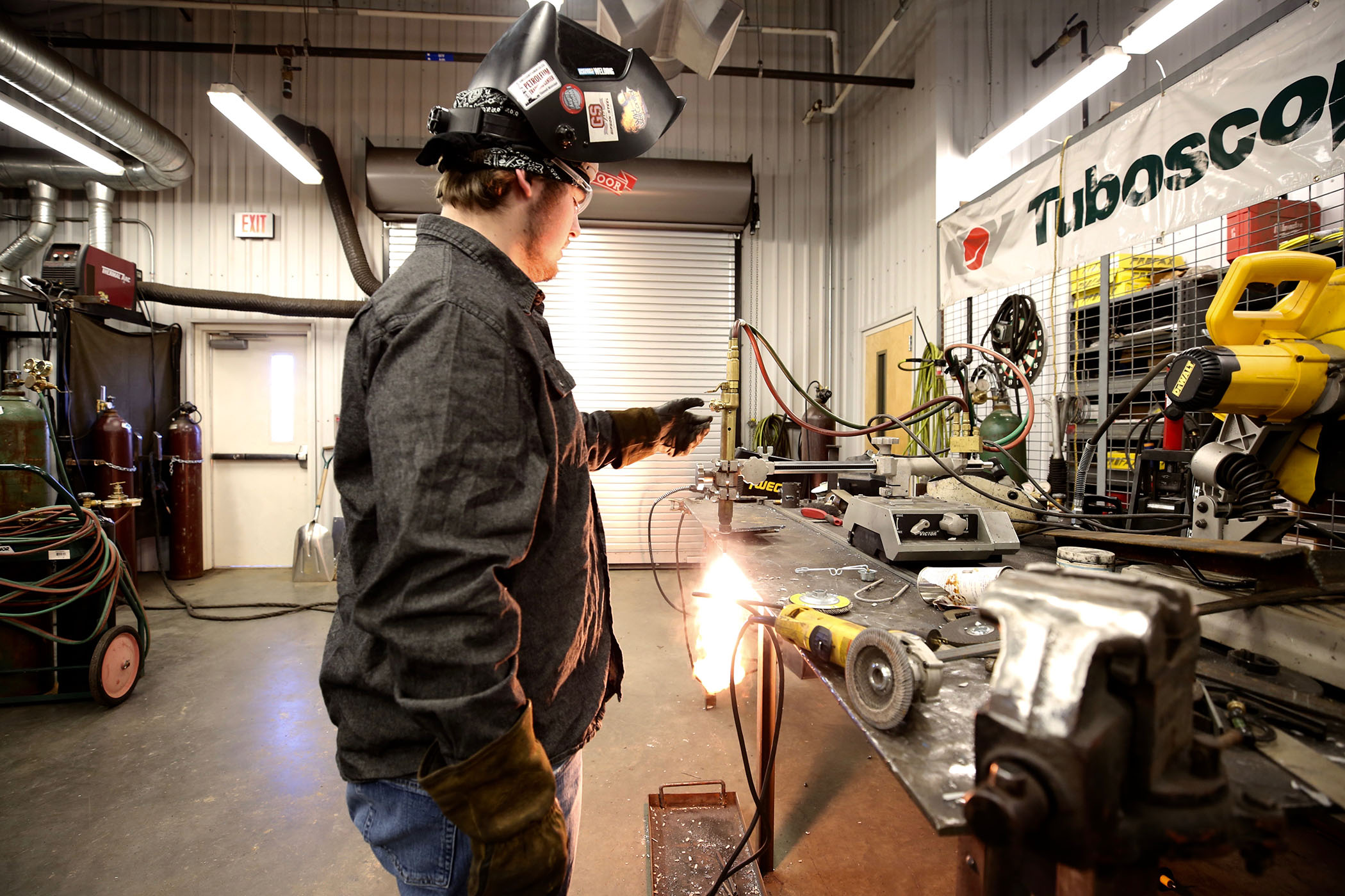 Jordan shows what he has learned in the welding center at the Stonewall, MS campus of JCJC.