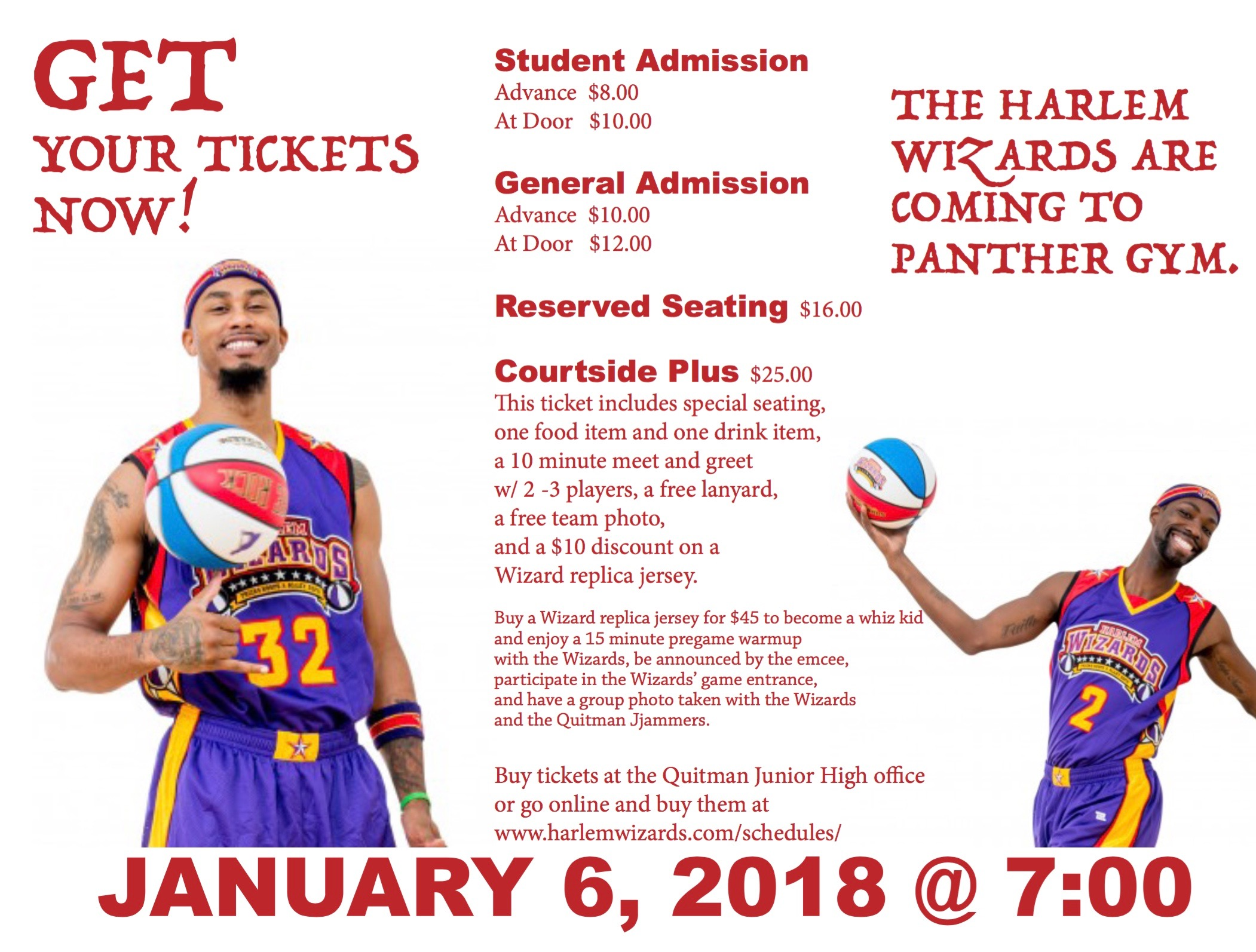 Flyer for Harlem Wizards game this Saturday, January 6th at 6:00 p.m.