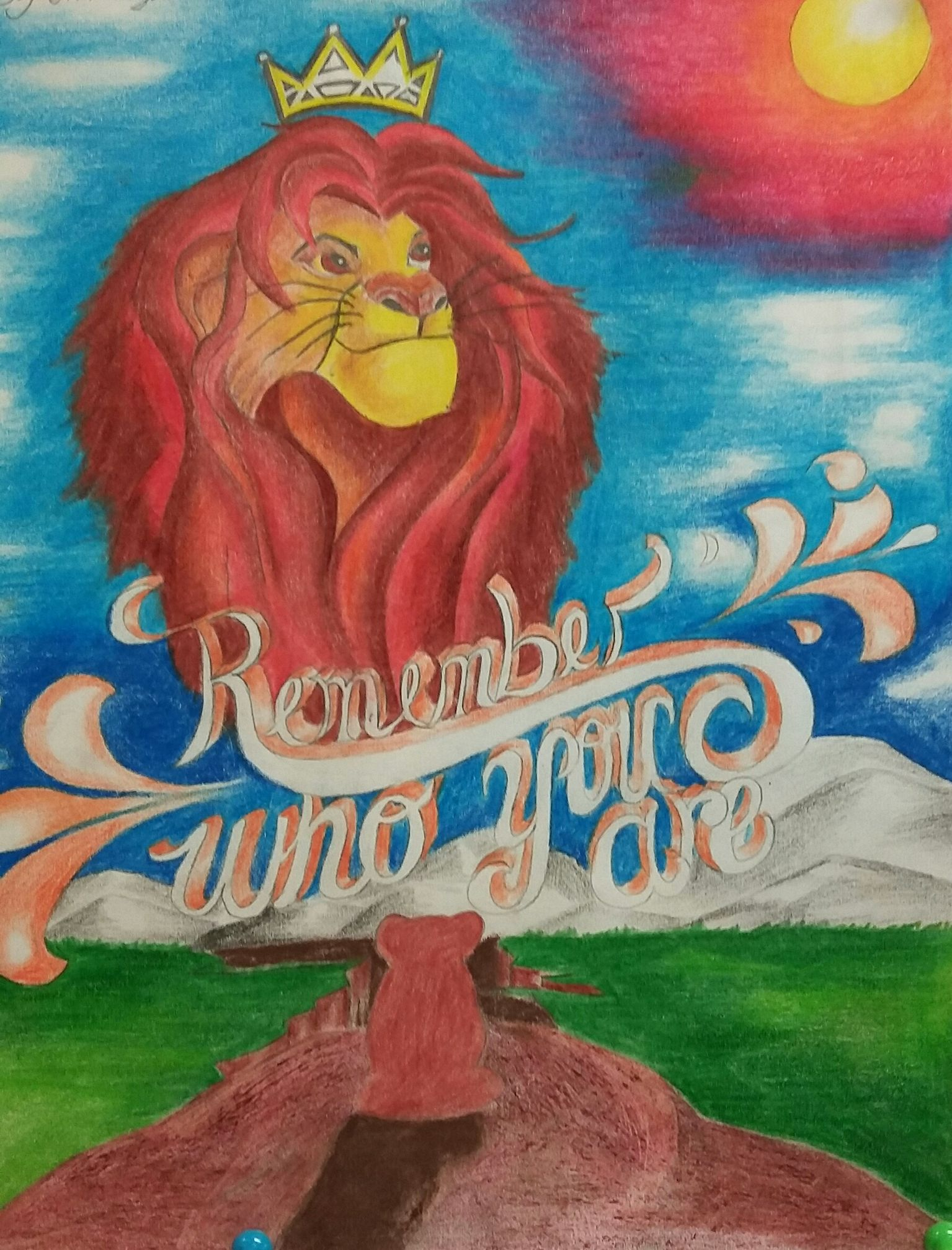 QHS student artwork for the theater group's auditions for The Lion King.