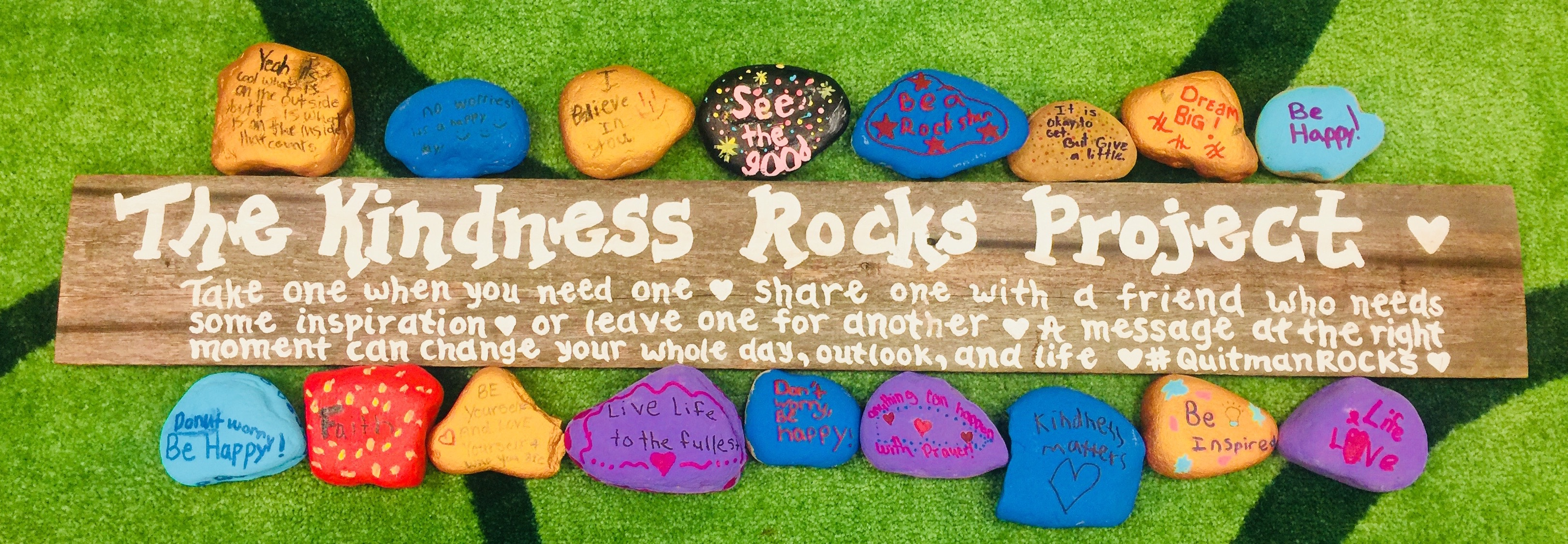 A photo showing the new Kindness Rocks which will be placed this week.