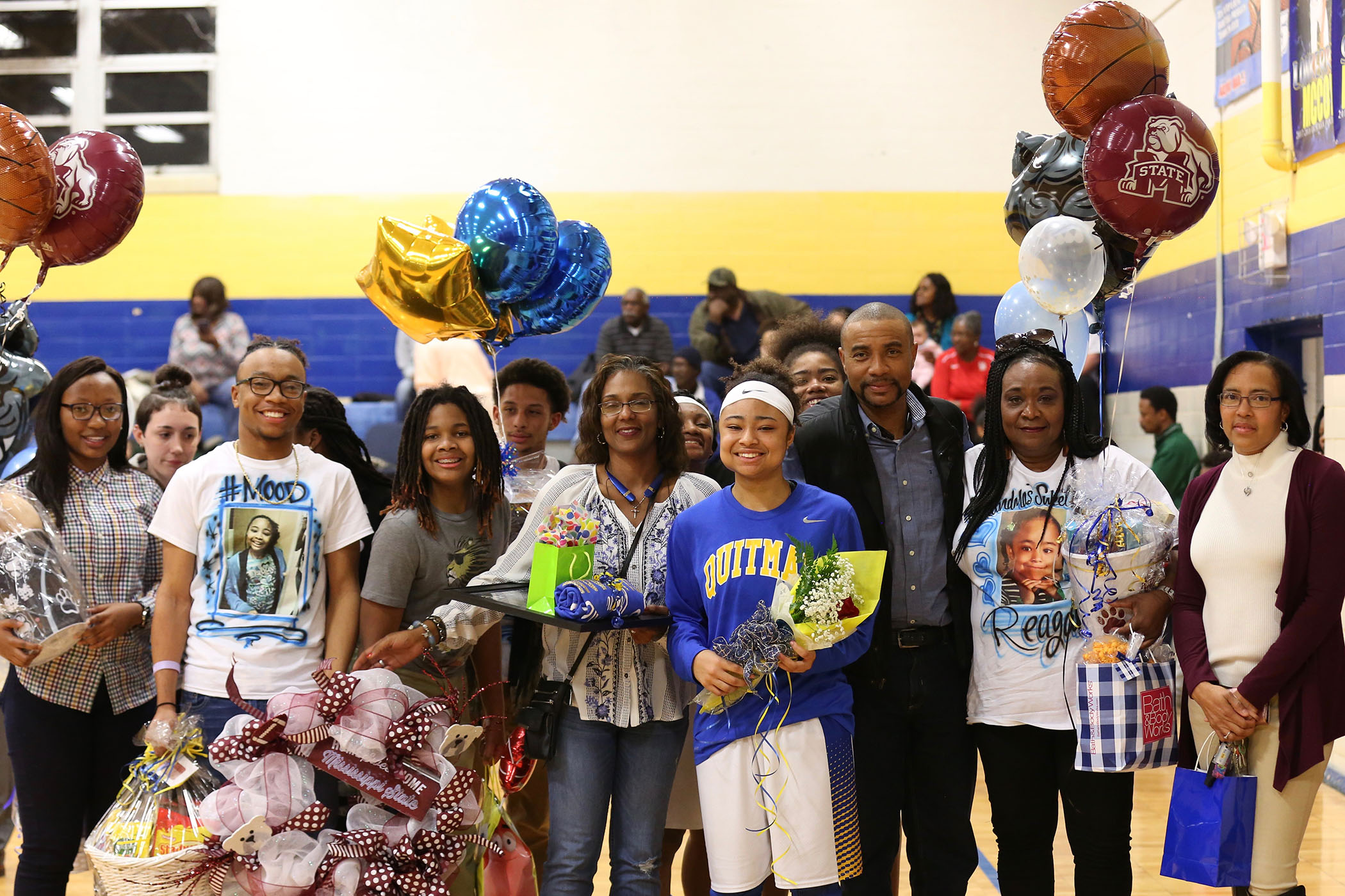 Reagan stands with her family and friends on Lady Panther Senior Night.