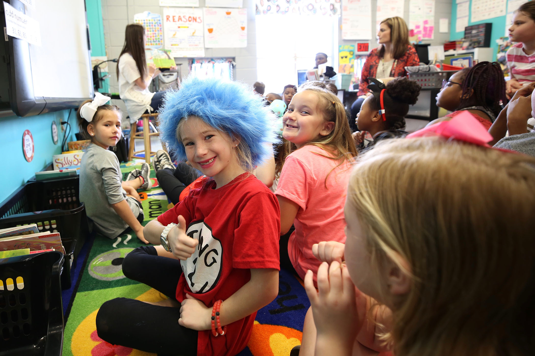 QLE students celebrate Read Across America week.