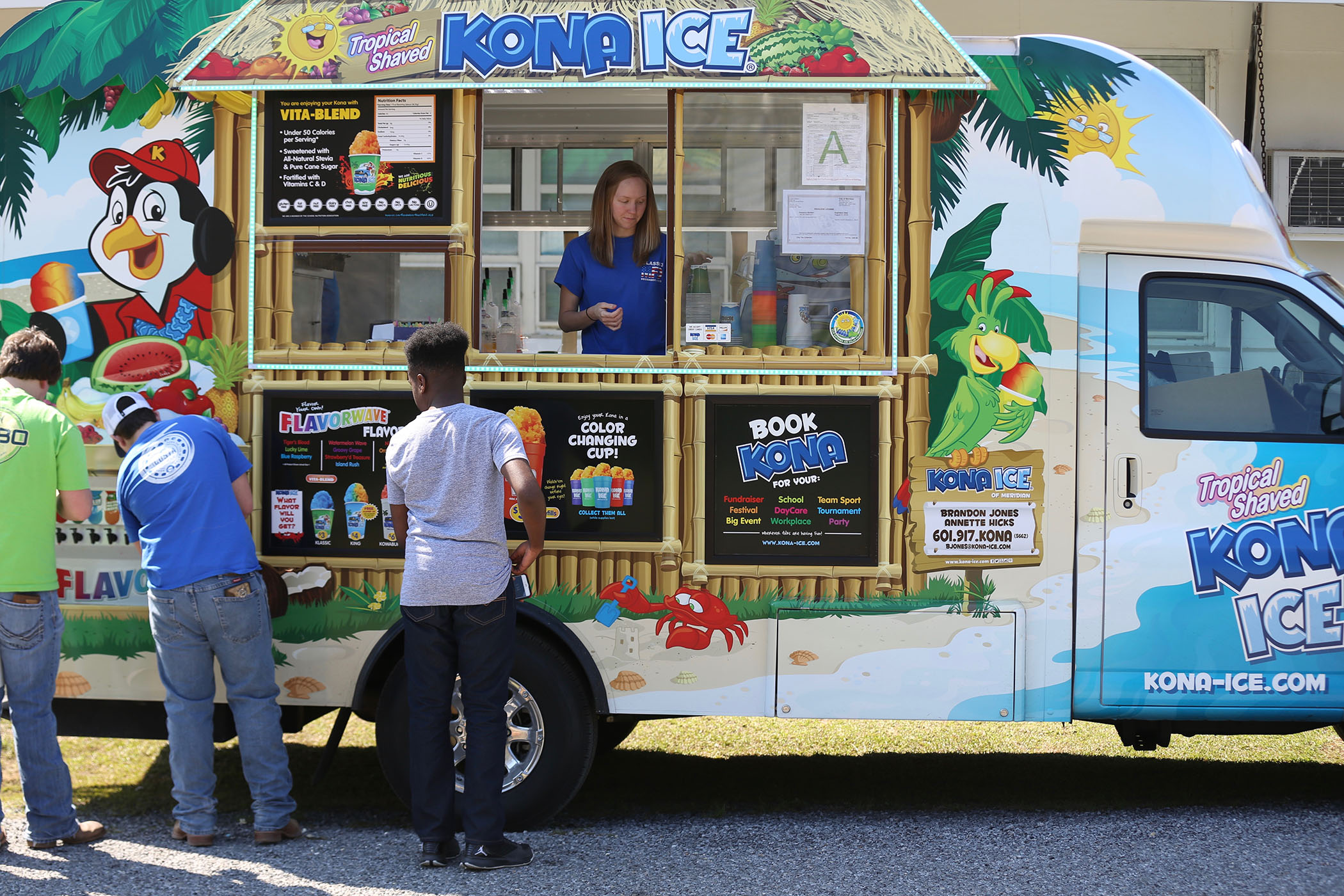 Career Tech students take a break from field day to get some Kona Ice.