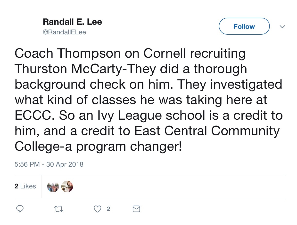 Screenshot of a tweet by Randal E. Lee.
