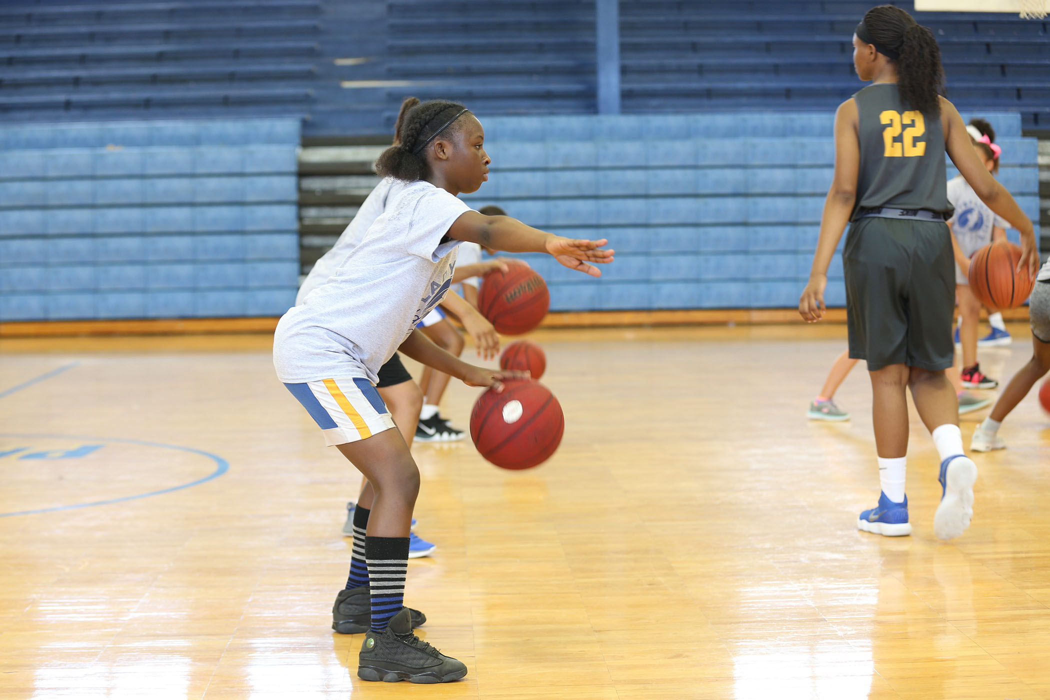 Students in the 2018 Lady Panther Kiddie Camp show vast improvement in skills during their second day of camp.