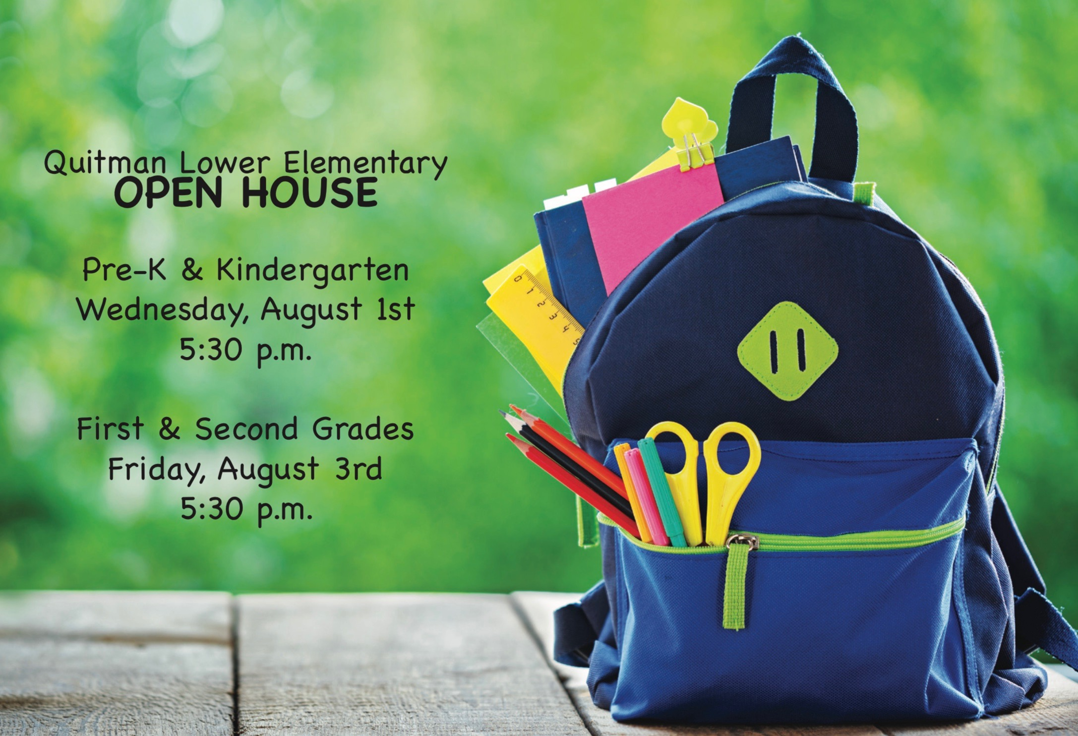 Photo of a backpack with QLE's Open House announcement.
