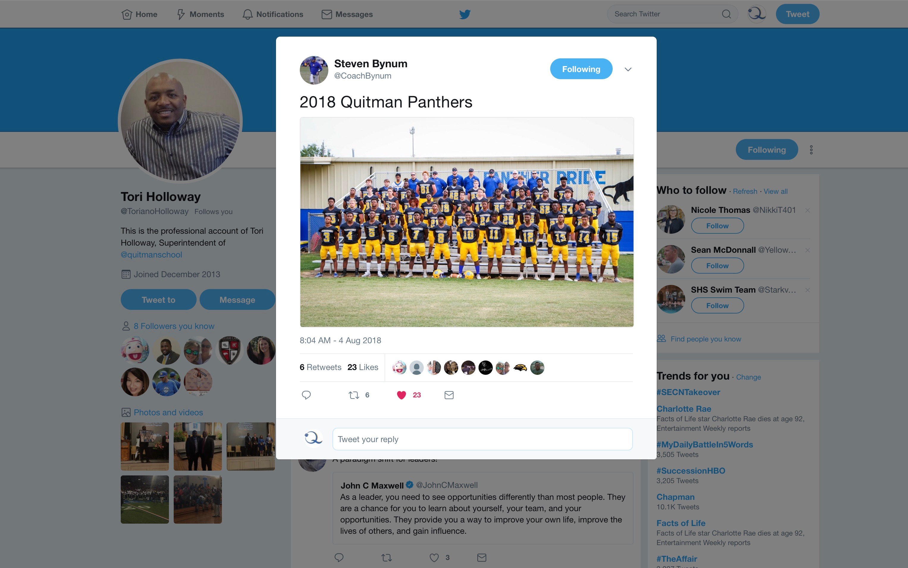 Photo of the 2018 Panther Football team tweeted by Coach Bynum and retweeted by Dr. Holloway.