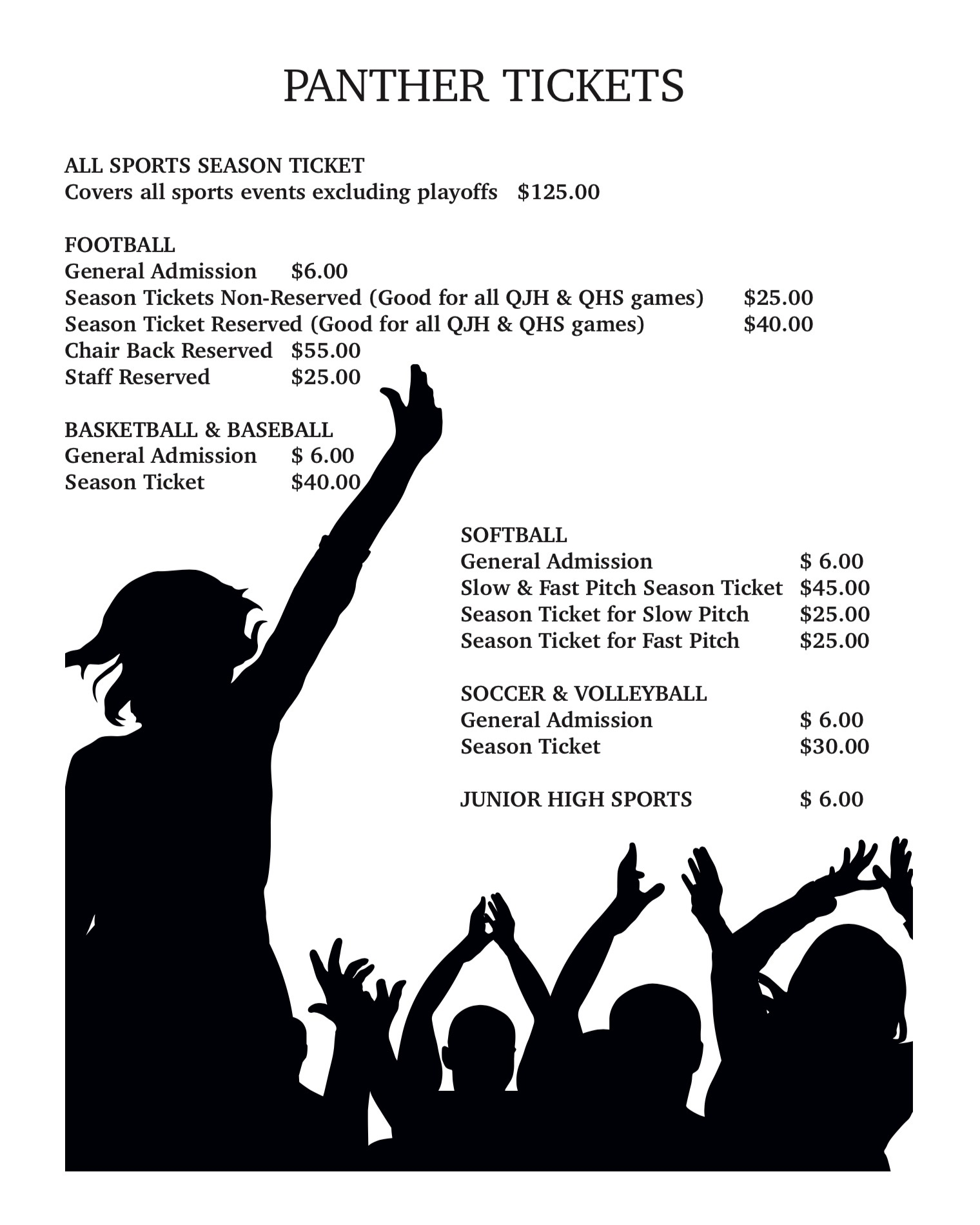 Flyer containing Panther ticket prices.