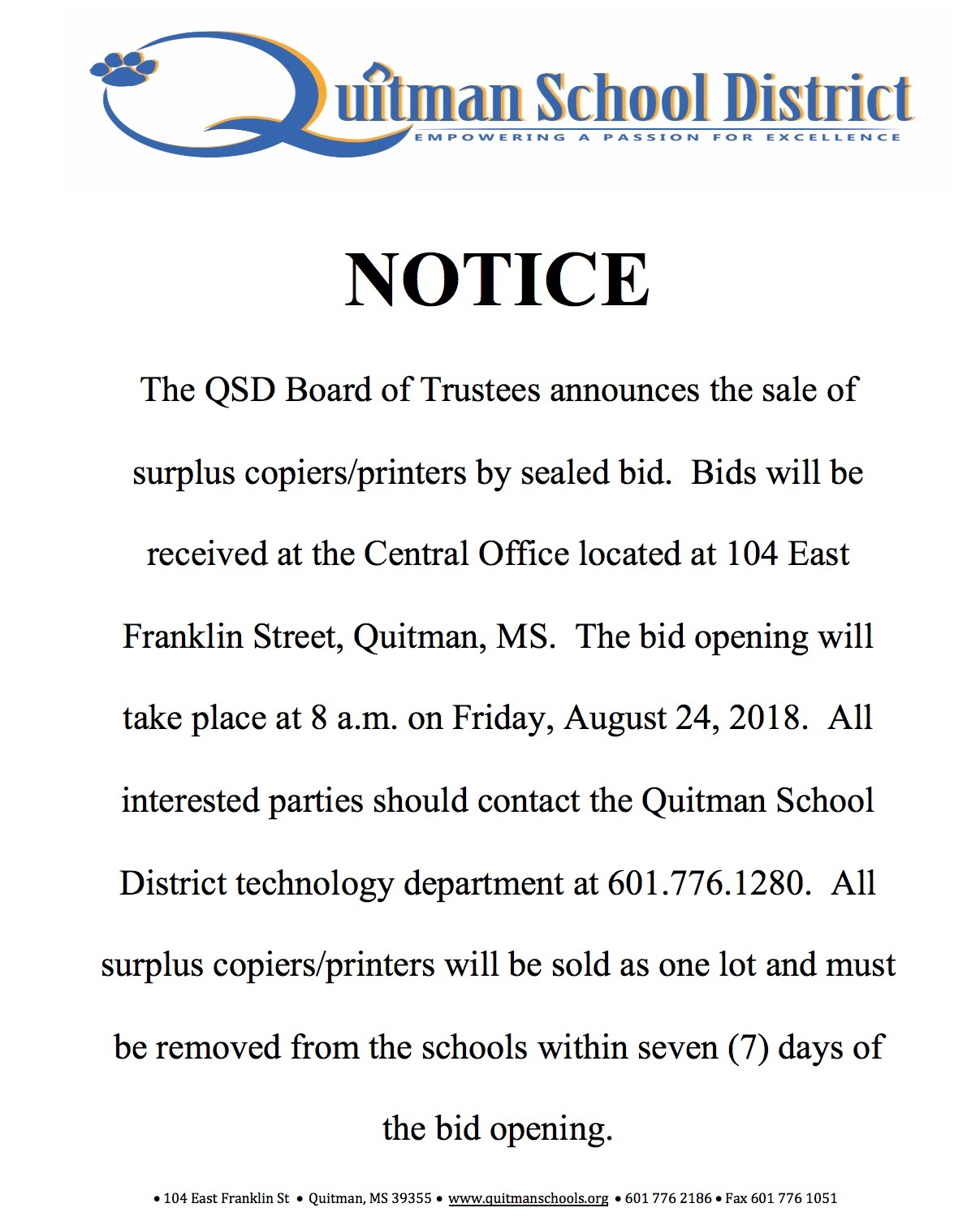 Notice from the QSD Board of Trustees on the sale of school property.