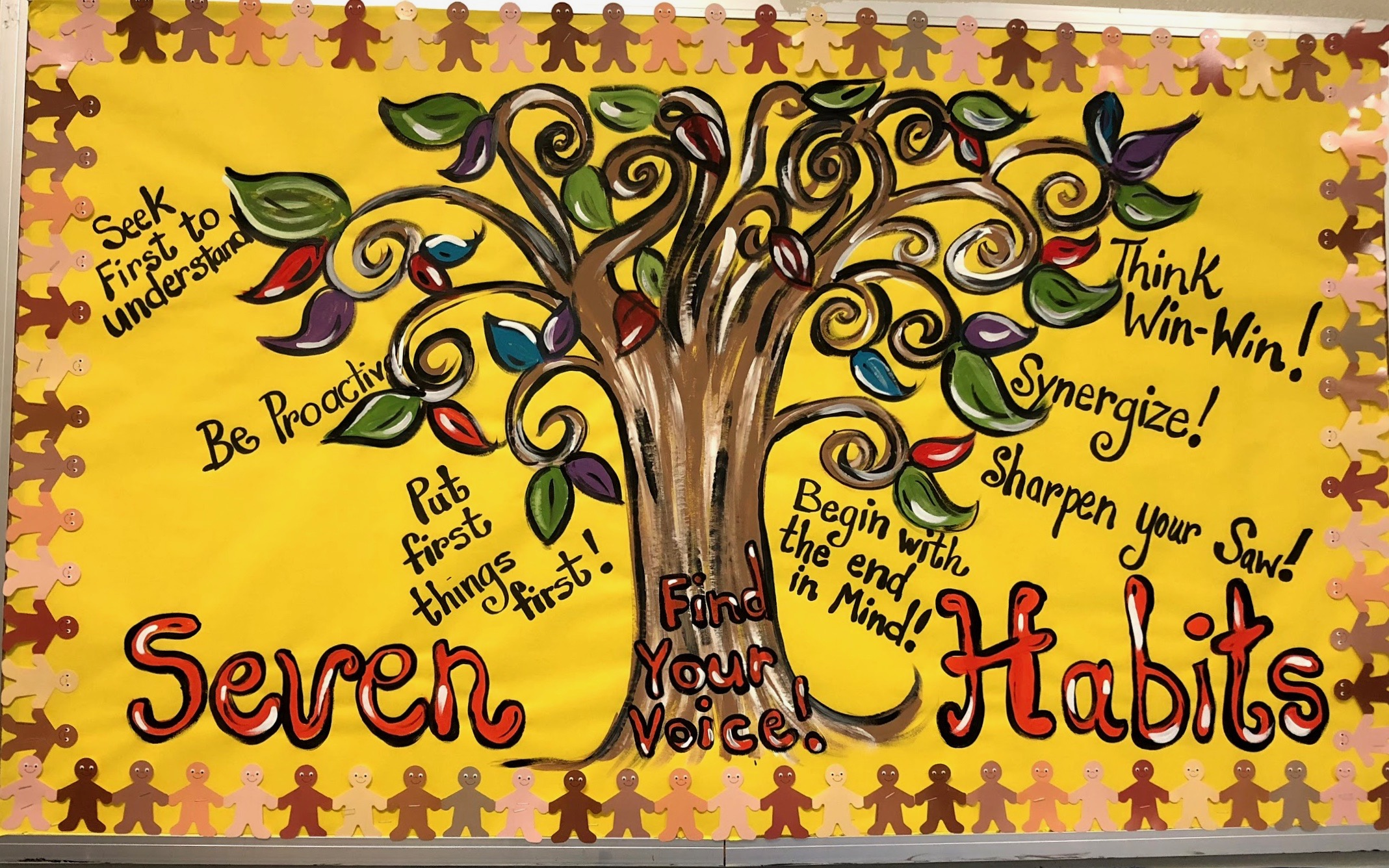 Photo of bulletin board listing the 7 habits by Steven Covey.
