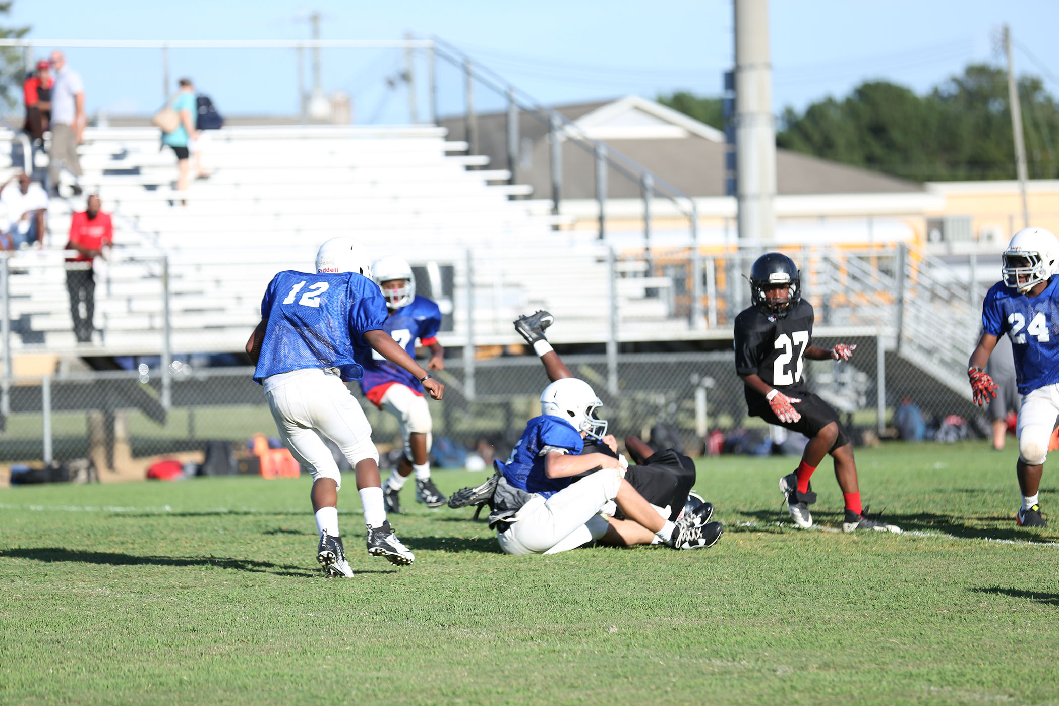 A QJH Panther football player makes a great tackle in last night's game.