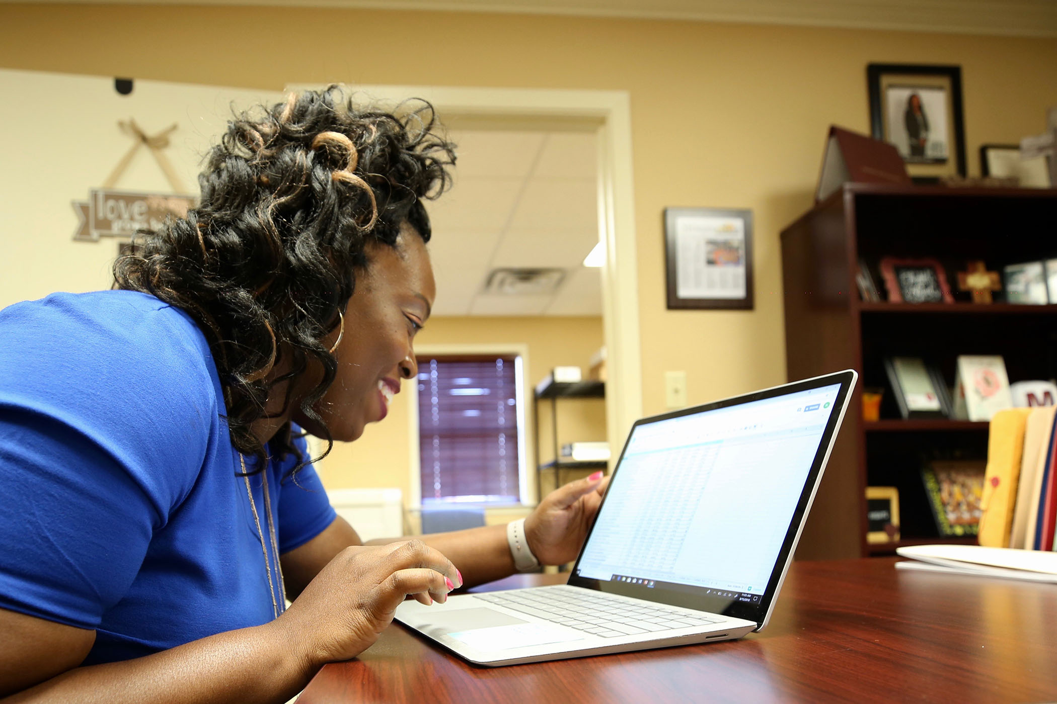 Natasha Mosley works on one of the many projects she has at Quitman School District.