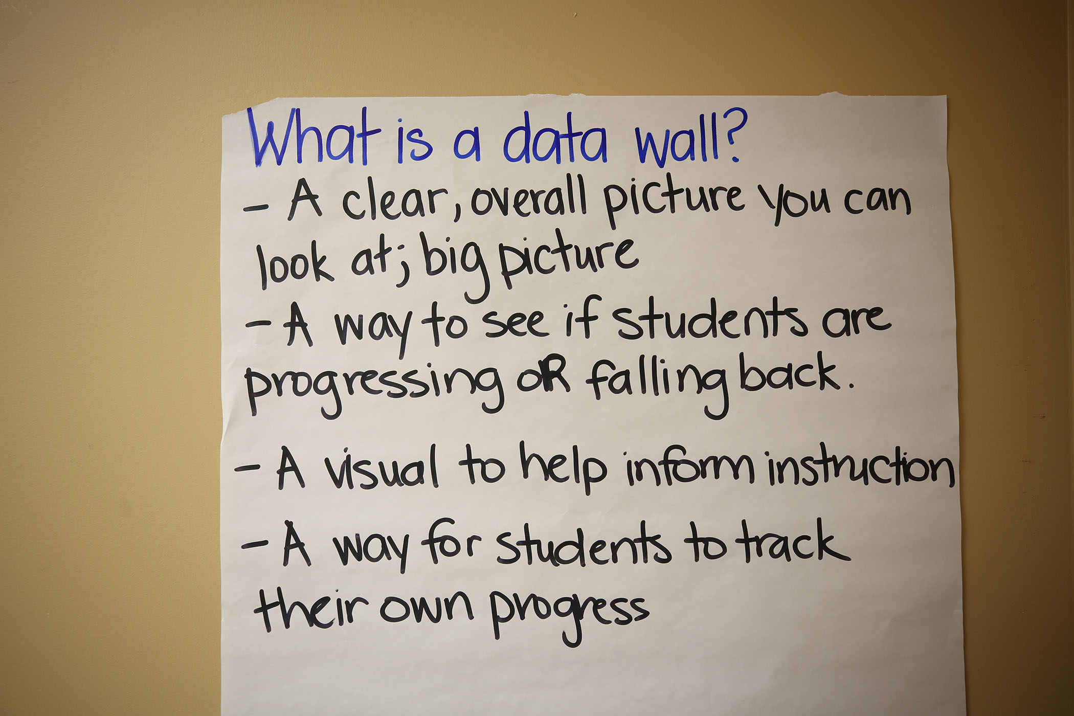A poster about a data wall hangs in Mosley's office.