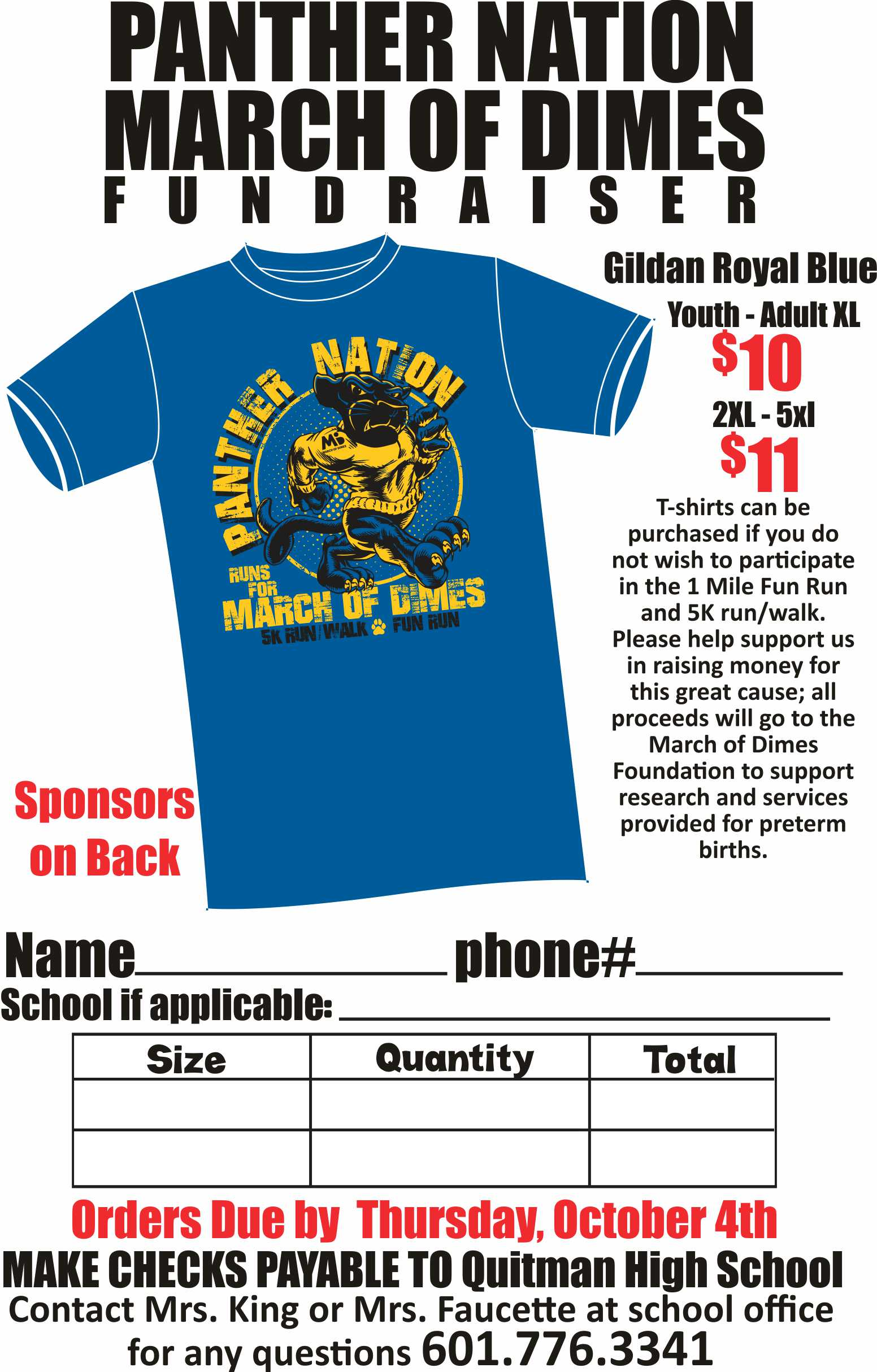 Order form for Panther Nation March of Dimes Fundraiser.