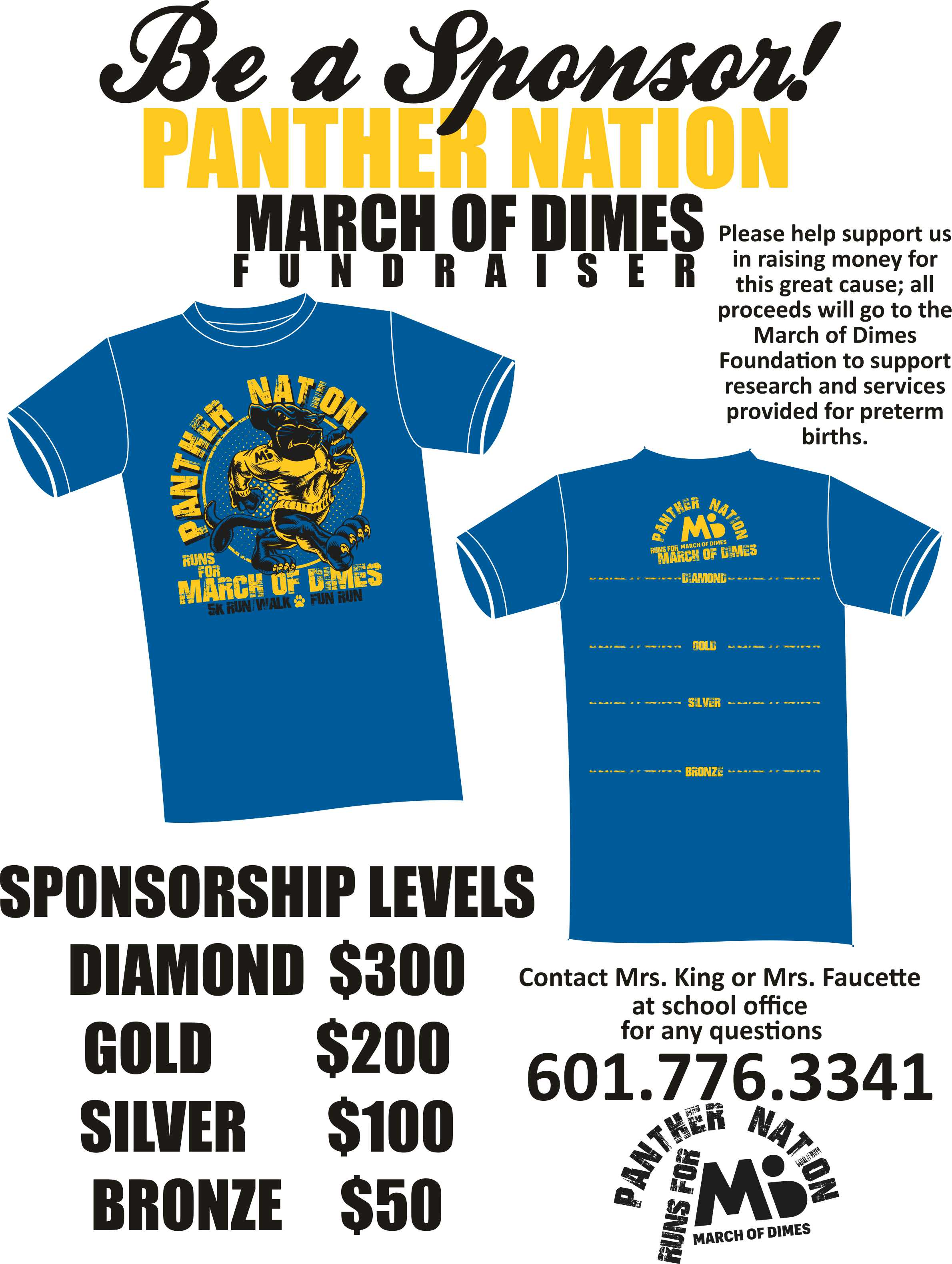 A Panther Nation flyer explaining sponsorships for the March of Dimes fundraiser.