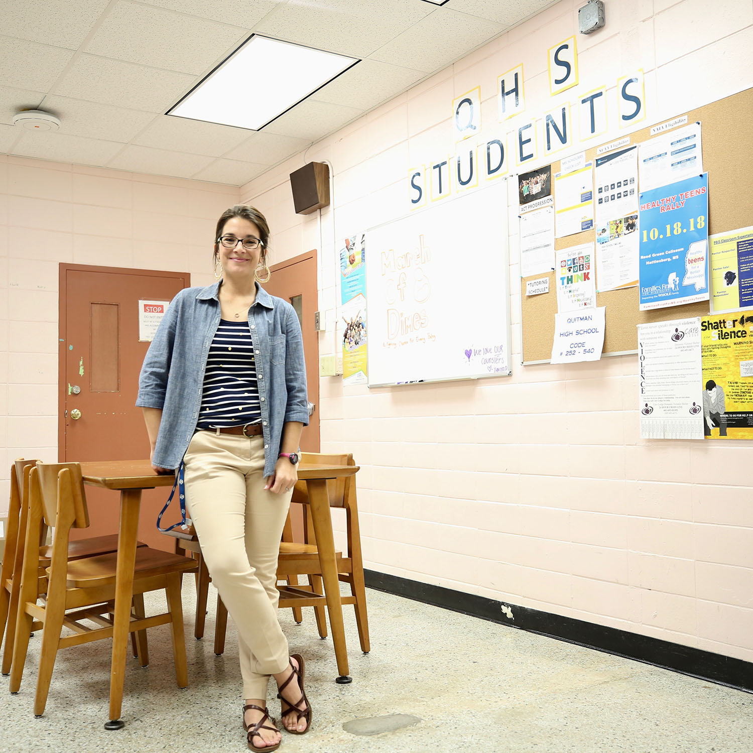 Mrs. Faucette stands in Office C where high school students visit their counselor.