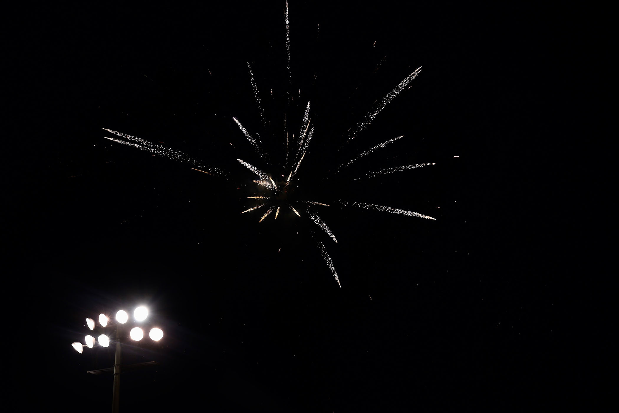 Fireworks are shot during the Panther Homecoming football game.