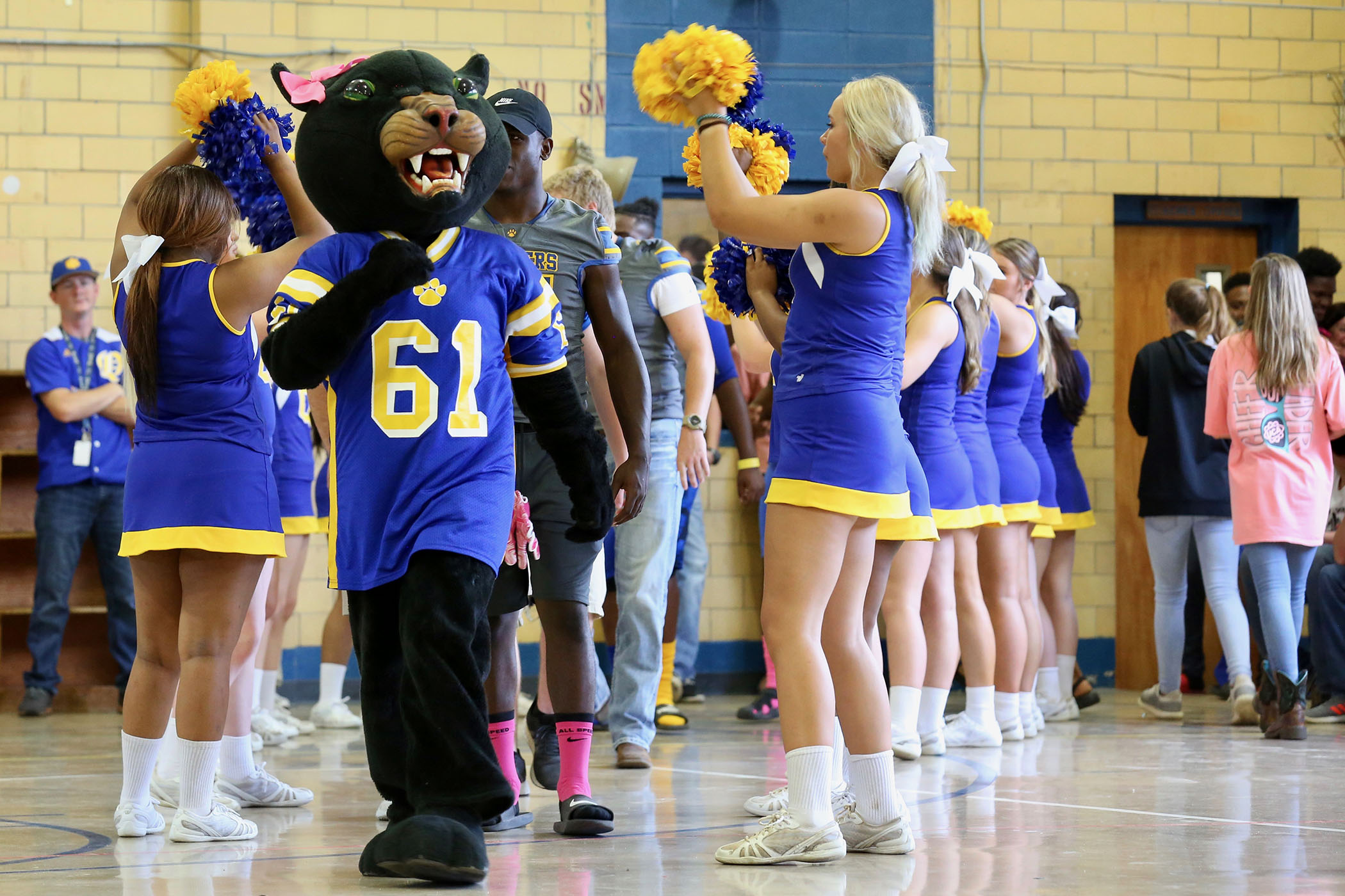 The Panther mascot performs at the QJH pep rally.