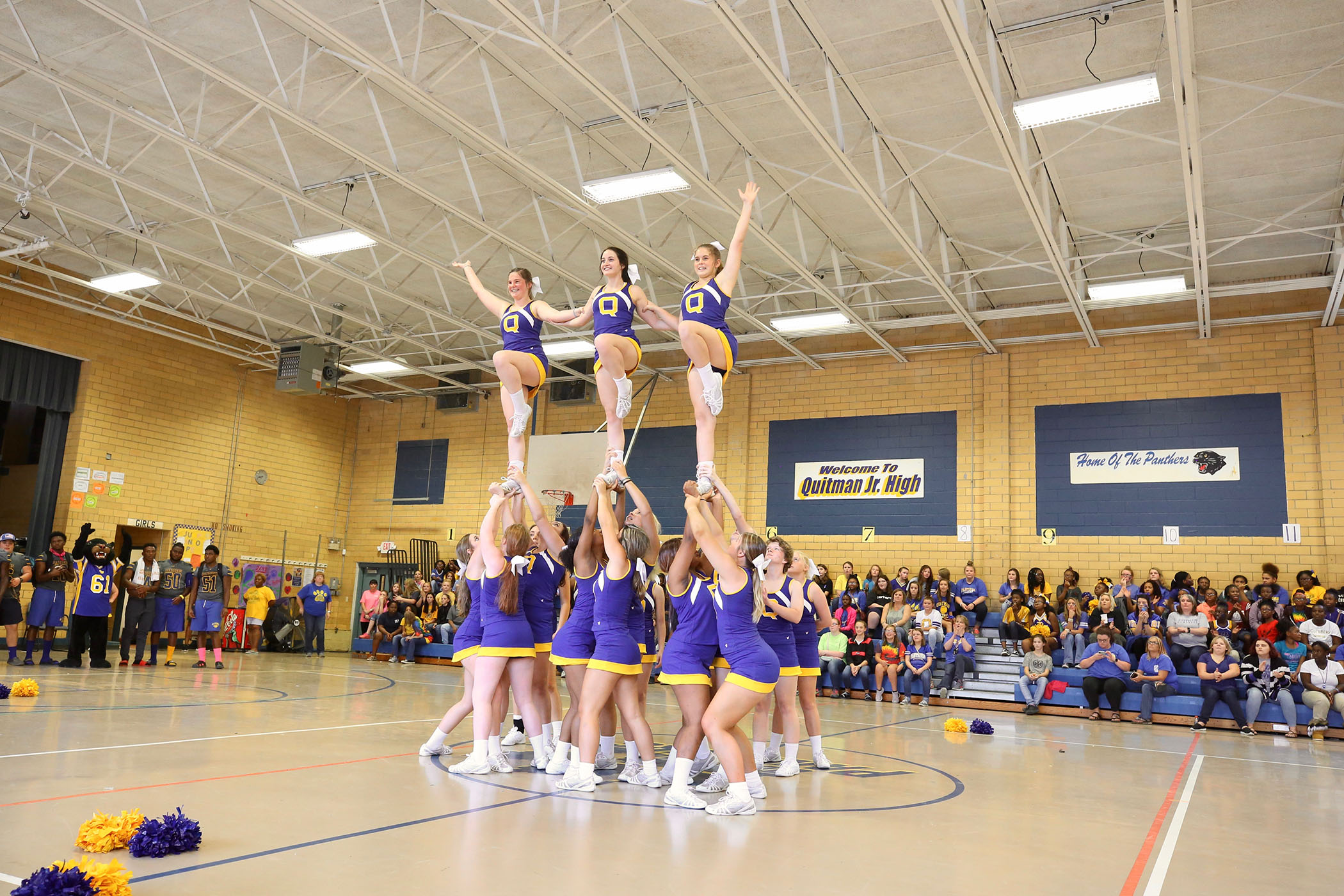 Panther cheerleaders perform at QJH for the 2018 Panther Homecoming.