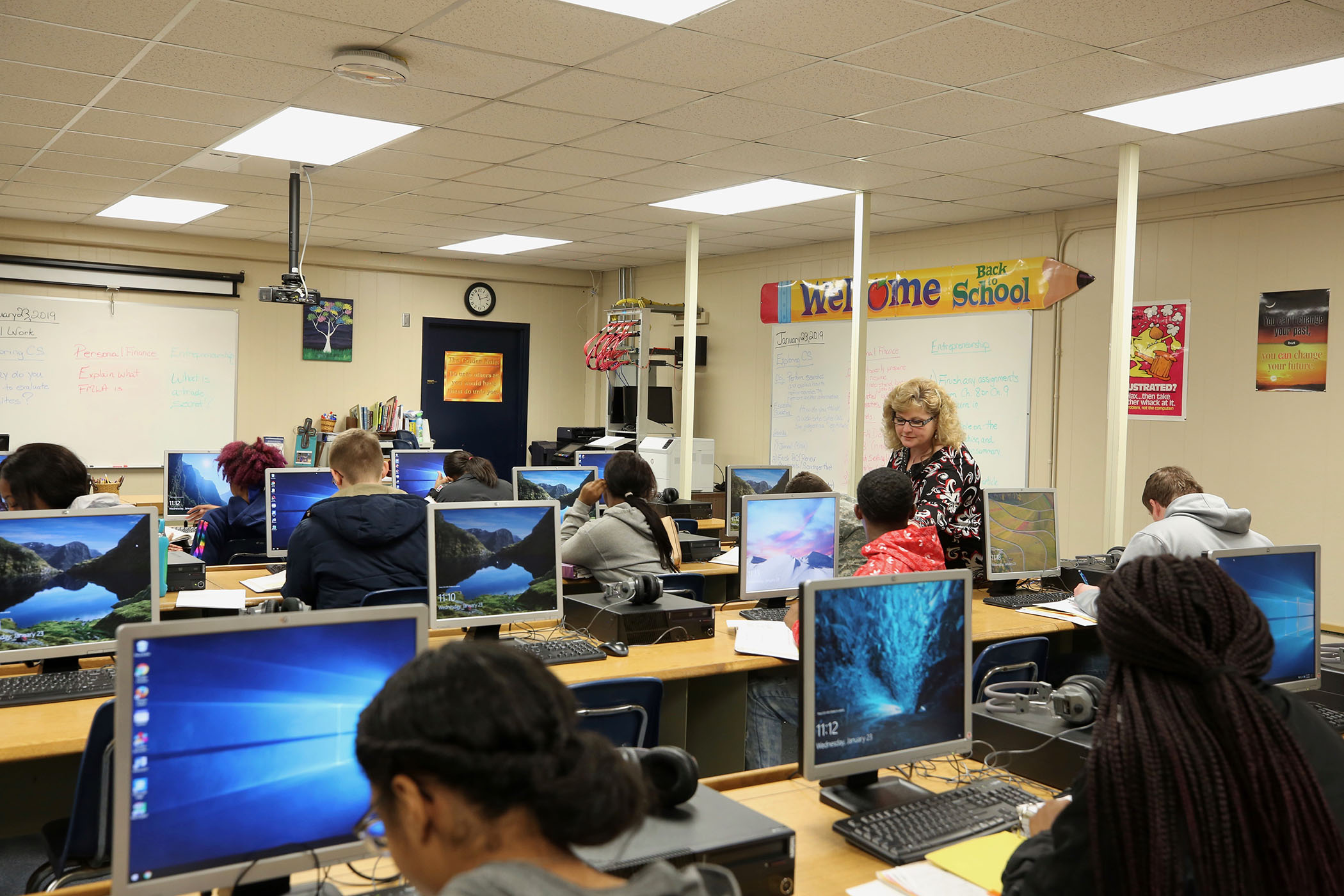 Mrs. Alford teaches in her classroom.