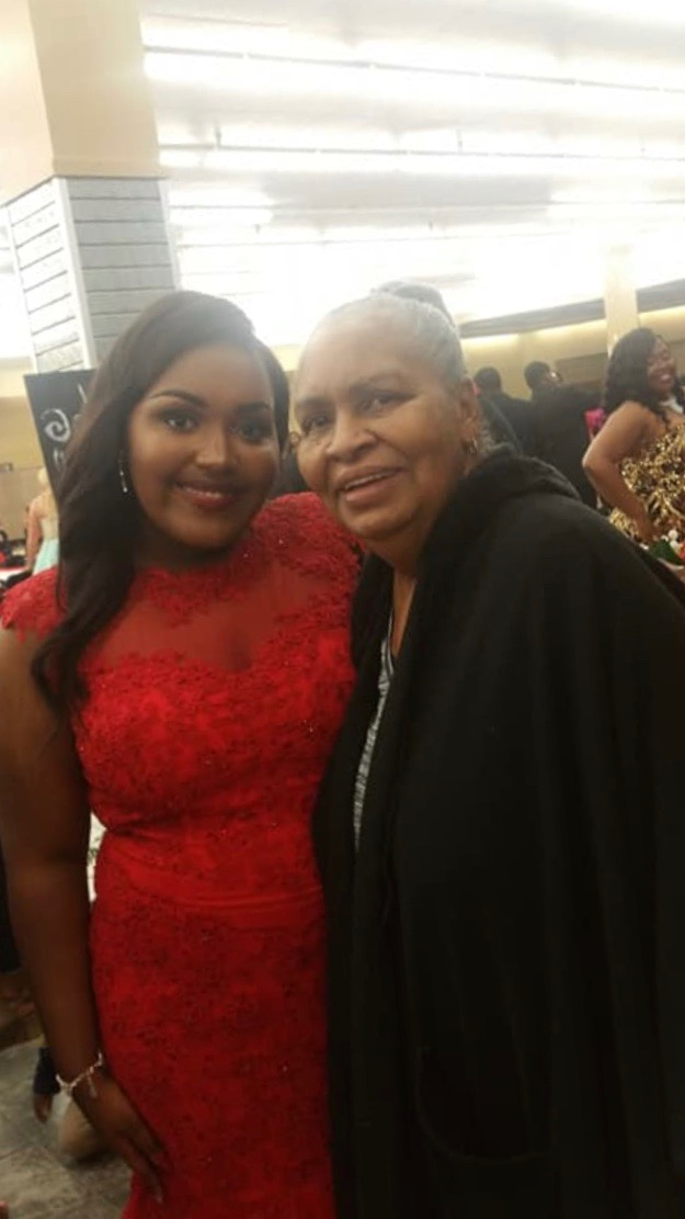 Heaven poses with her grandmother.