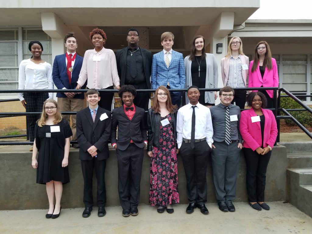 Winners of the FBLA District tournament pose for a photo.