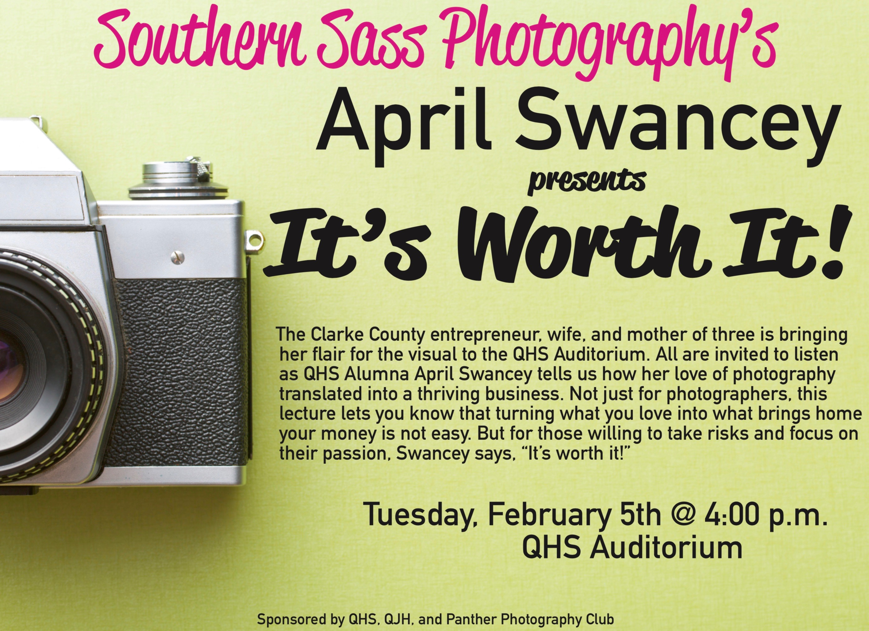 Poster announcing tonight's Photography meeting.
