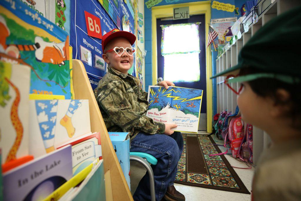 QLE student wears a hat to school to celebrate Read Across America week.