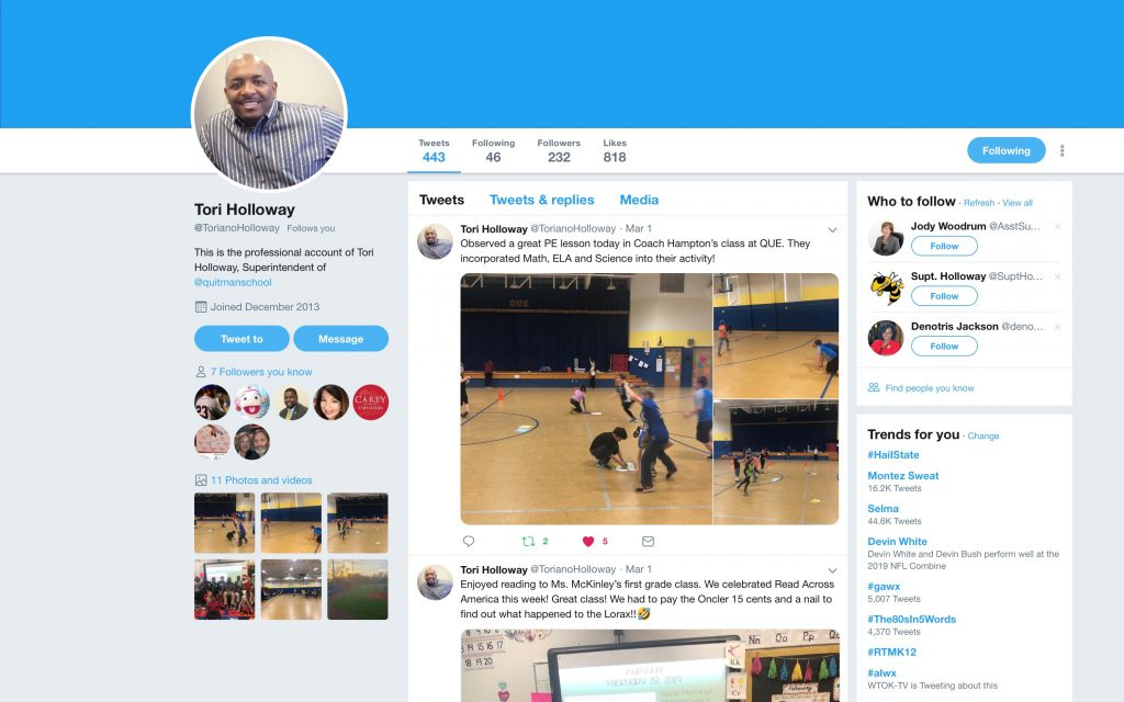QSD Superintendent Dr. Holloway tweets about Mrs. Hampton's PE class.