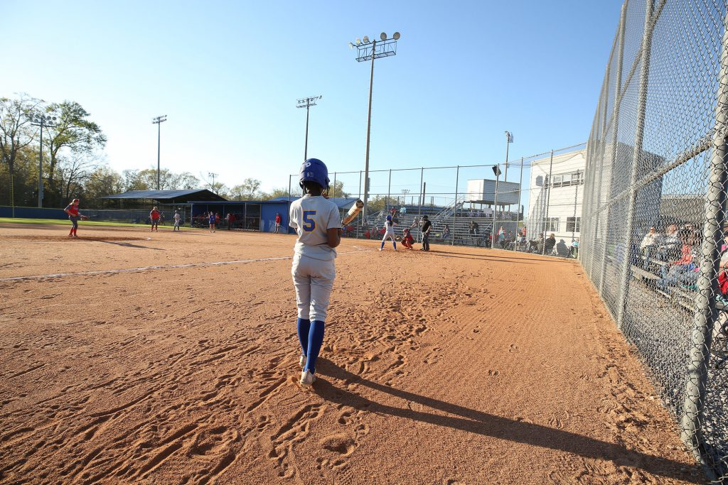 Panther fast-pitch plays on their home field.