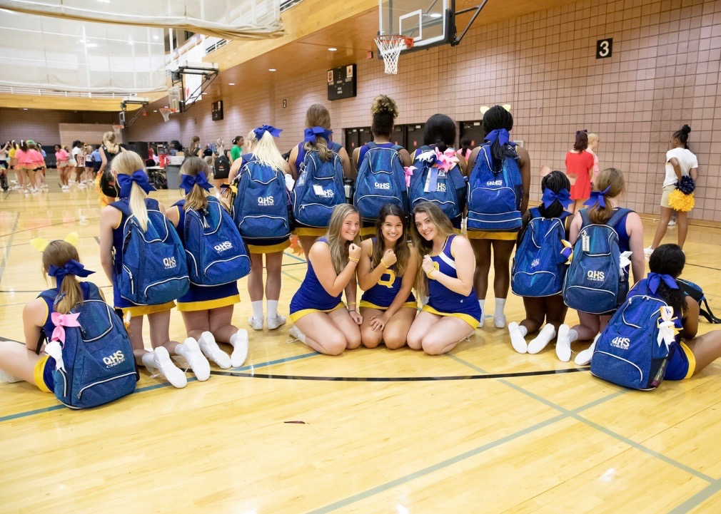 QHS Varsity Cheerleaders are excited to be at camp.