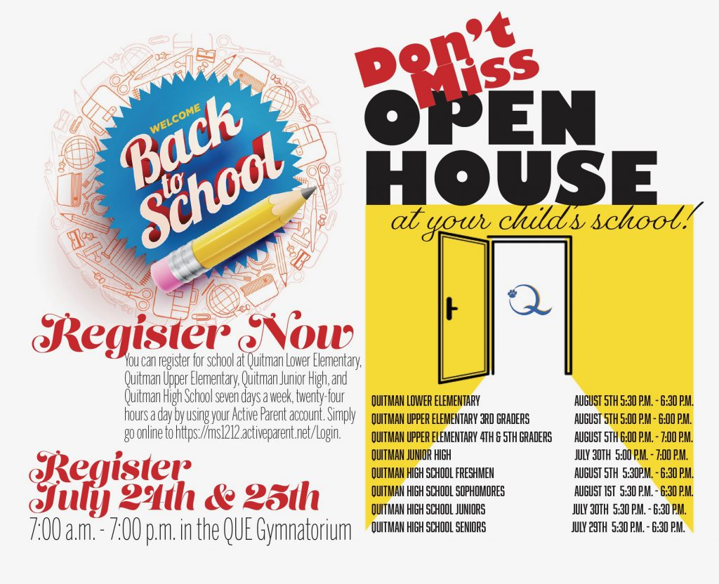A banner showing registration and open house dates.