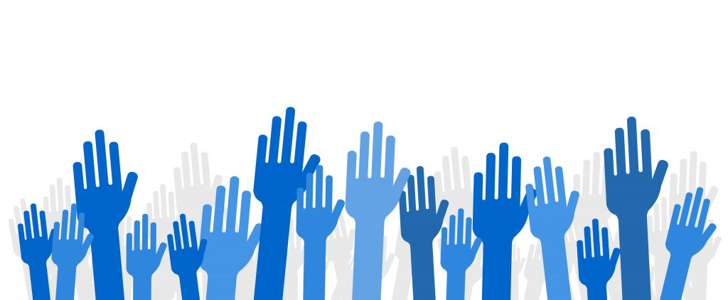 Graphic of hands being raised.