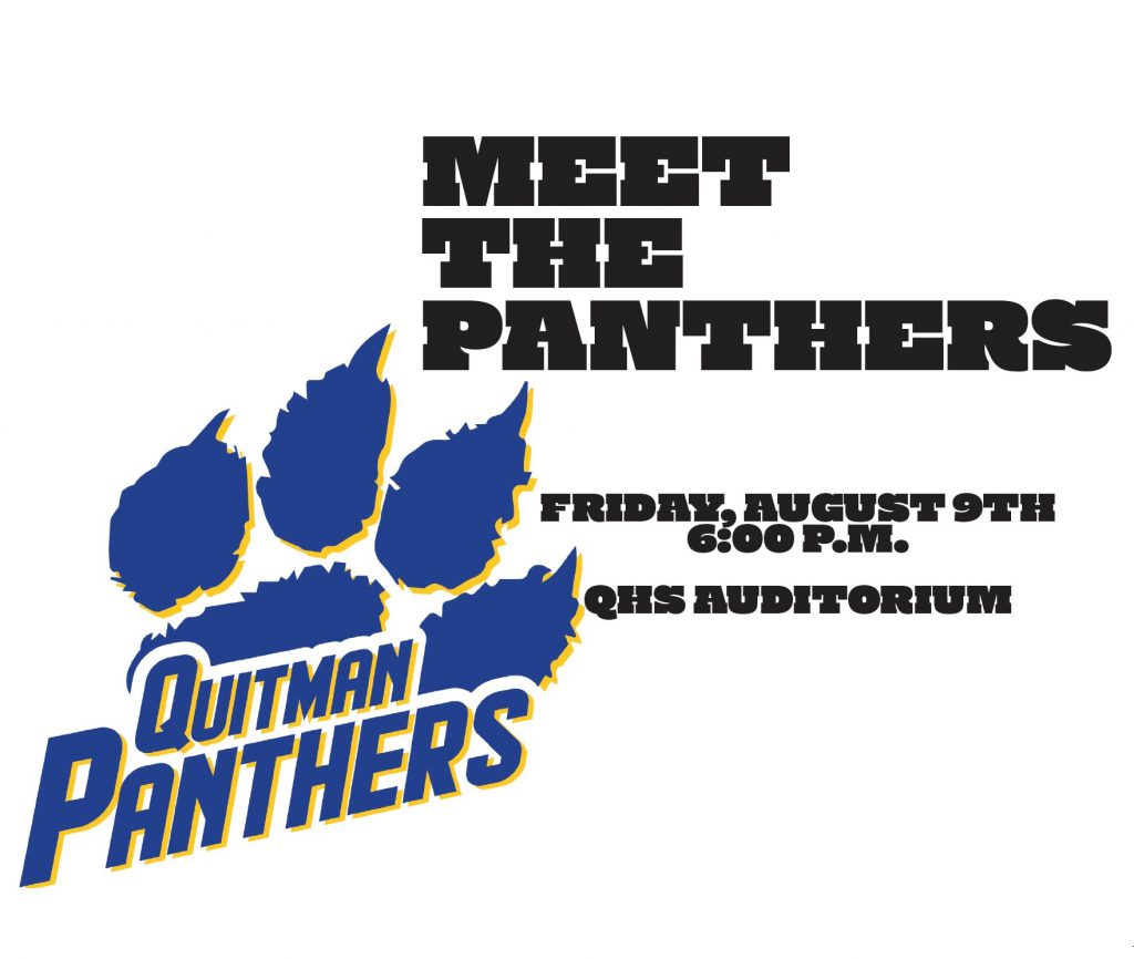 A graphic announcing the date and time of Meet the Panthers.