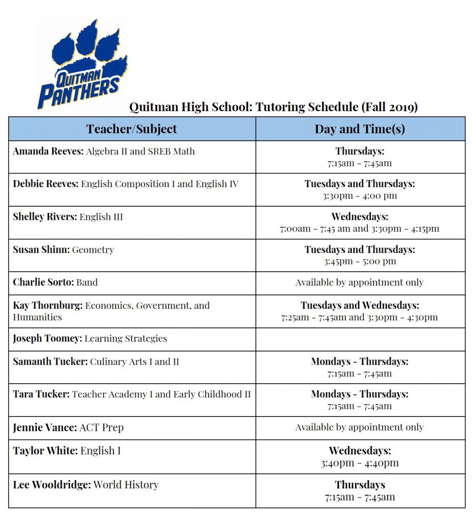 QHS Tutoring Schedule