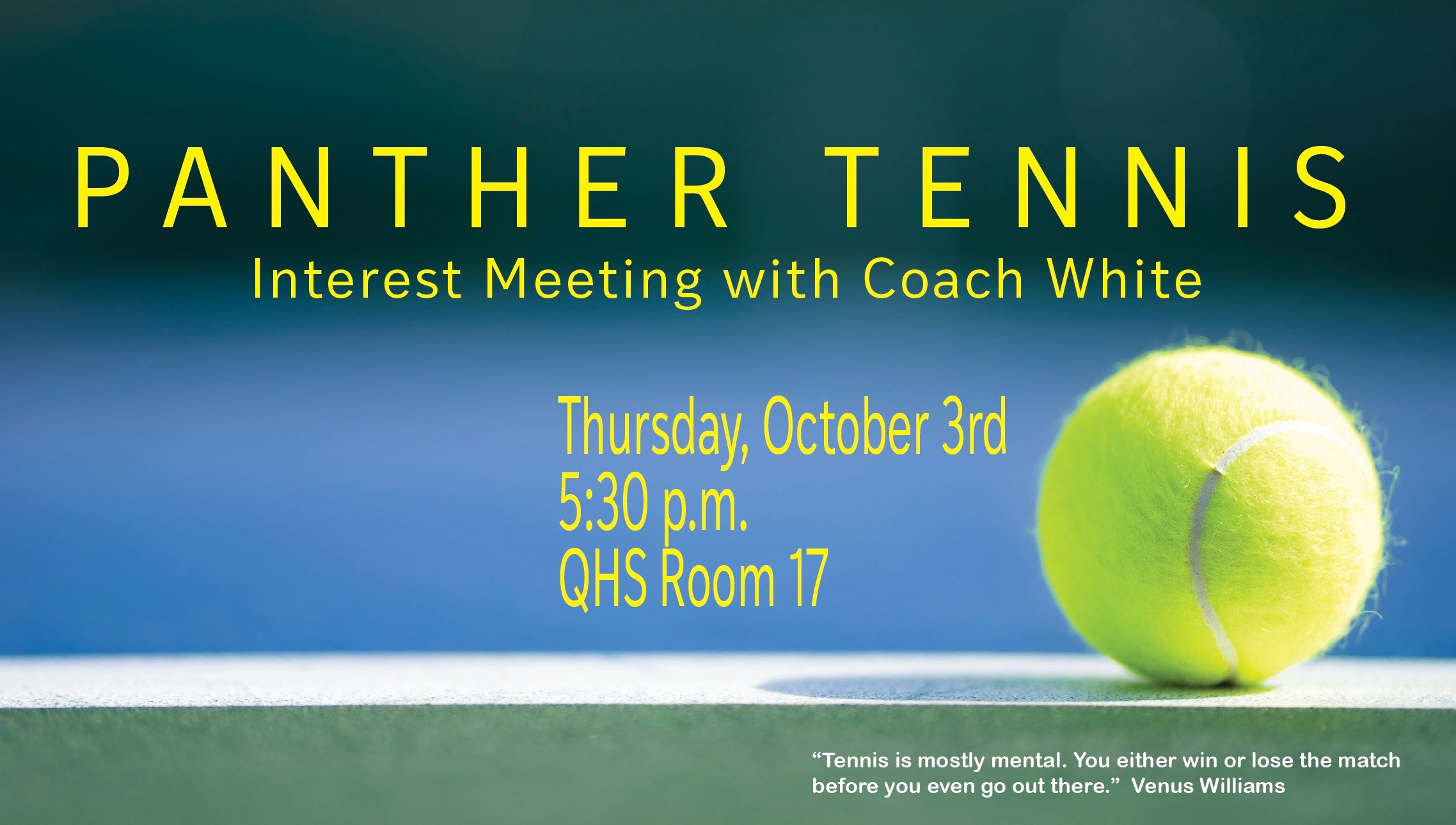 Flyer for tennis meeting.