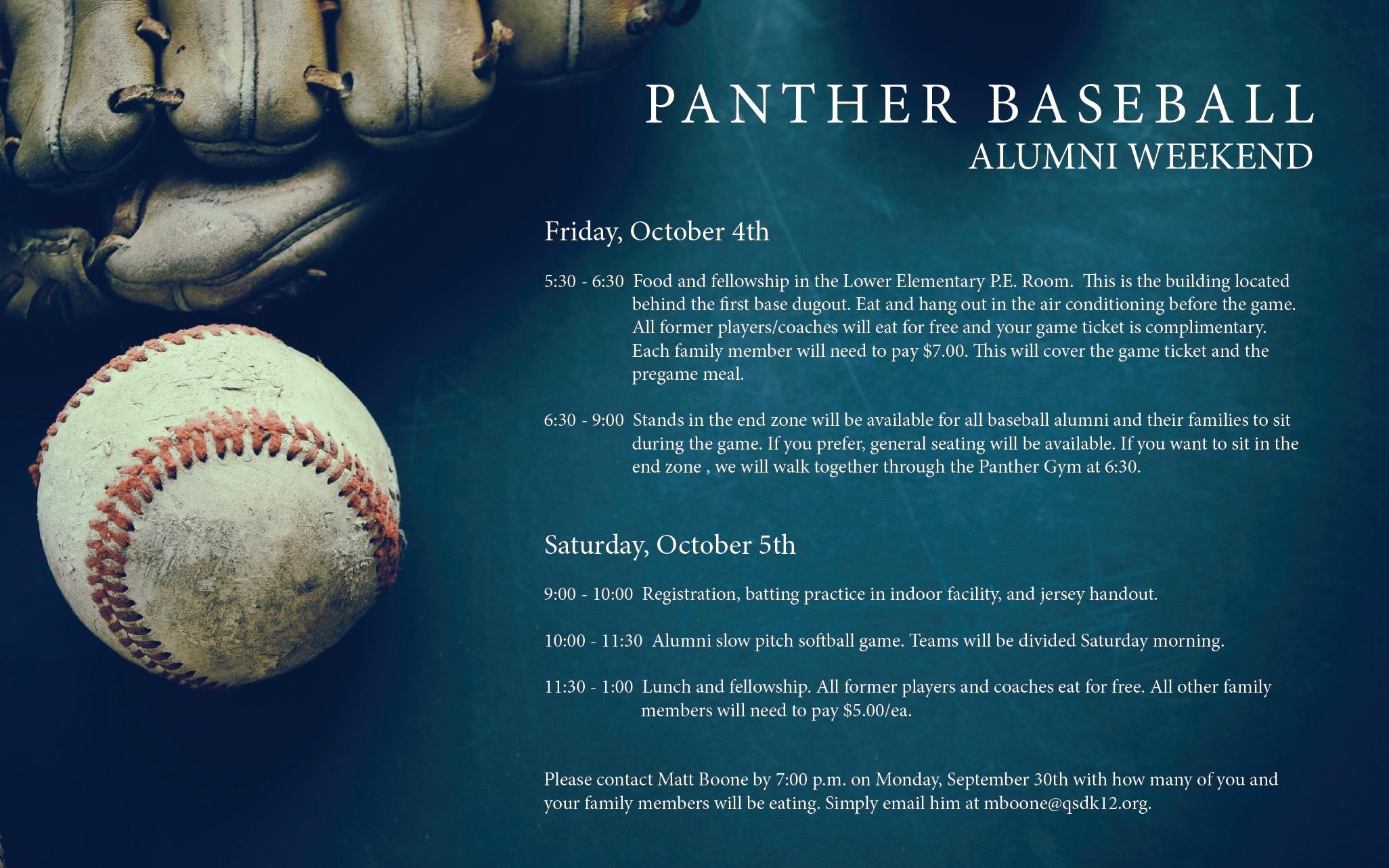 Panther Baseball Alumni Weekend flyer