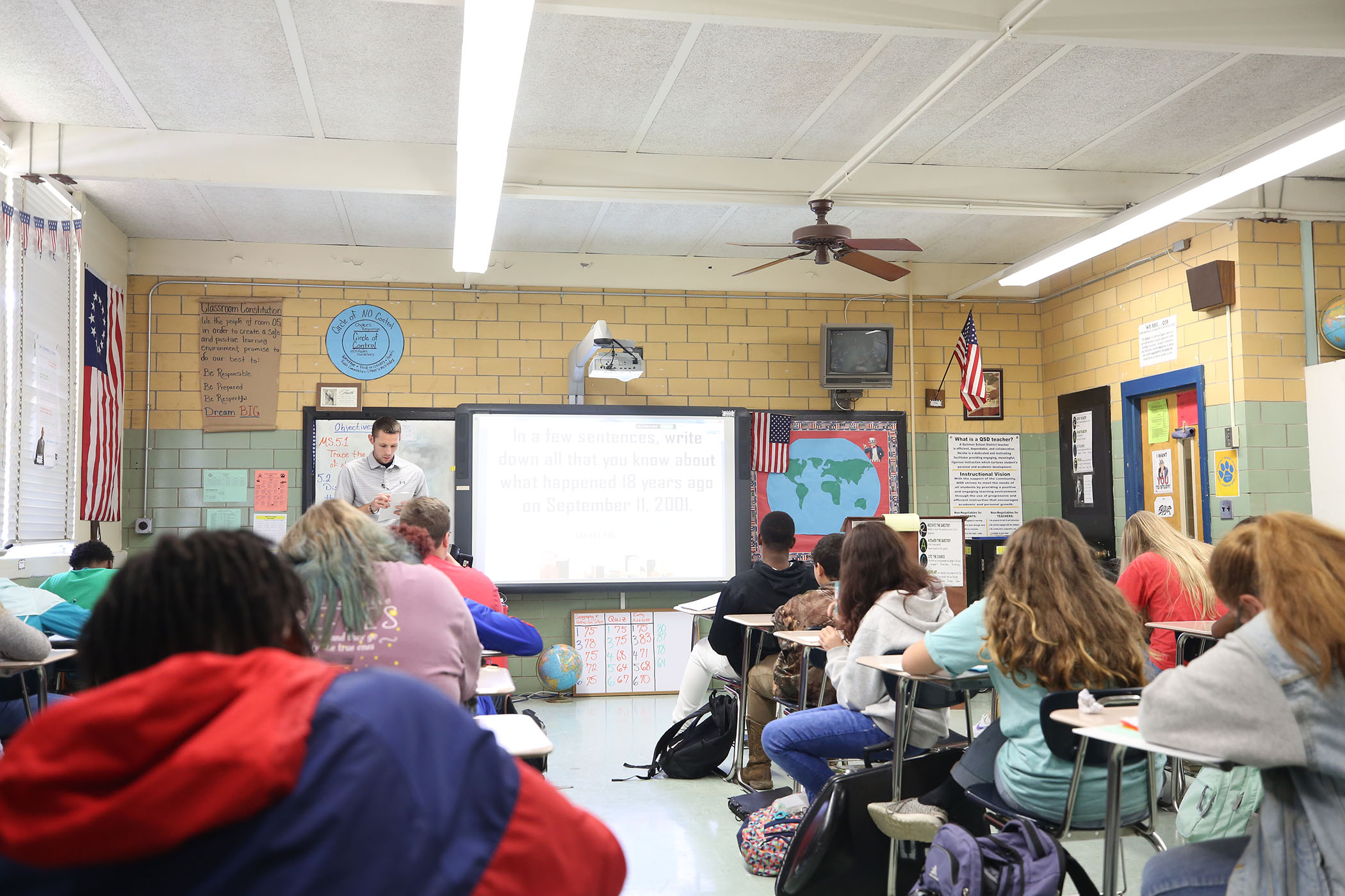 Mr. Smith has the bellringer on the promethean board when the class enters the room.