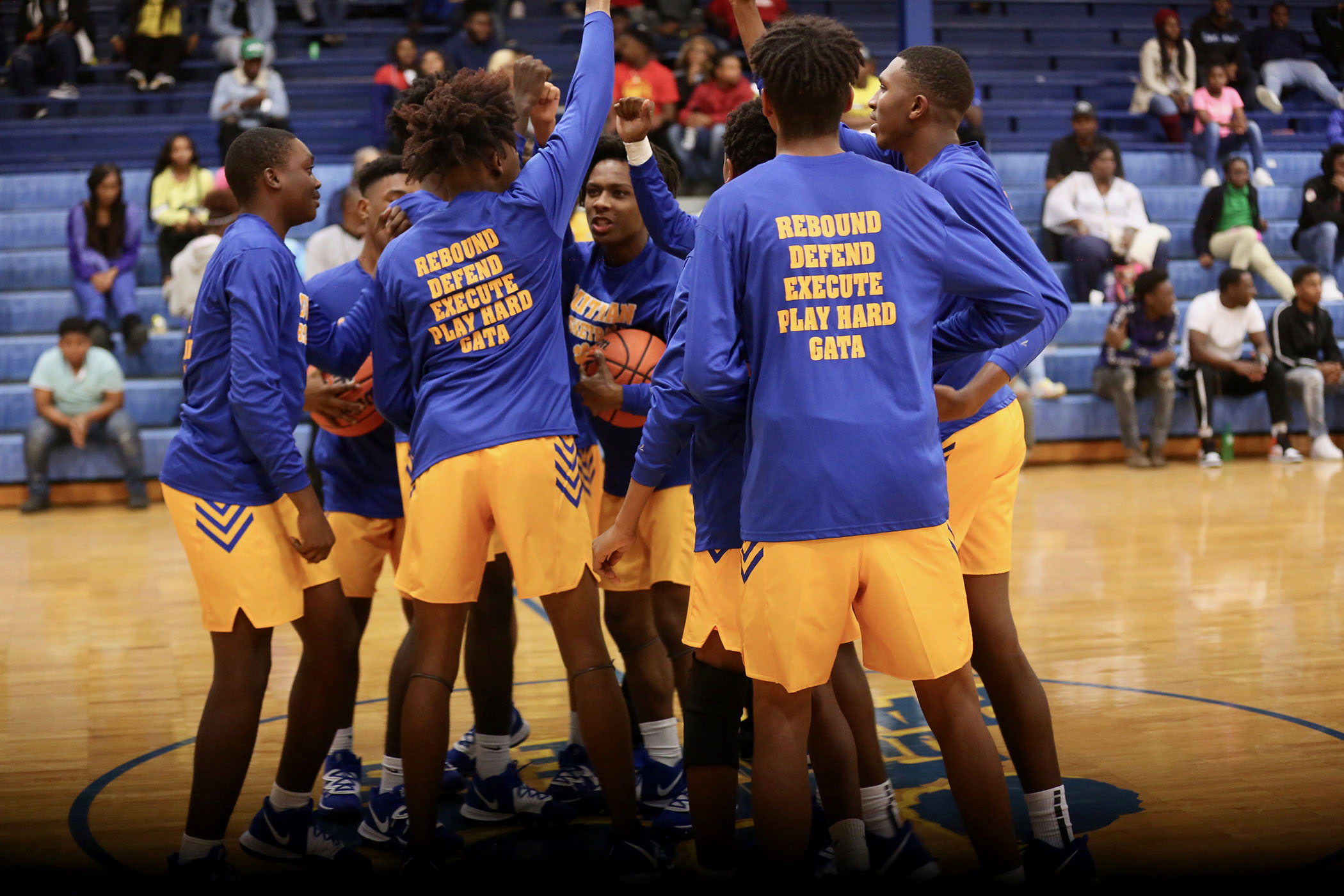 Panther Basketball gets hyped before a game.