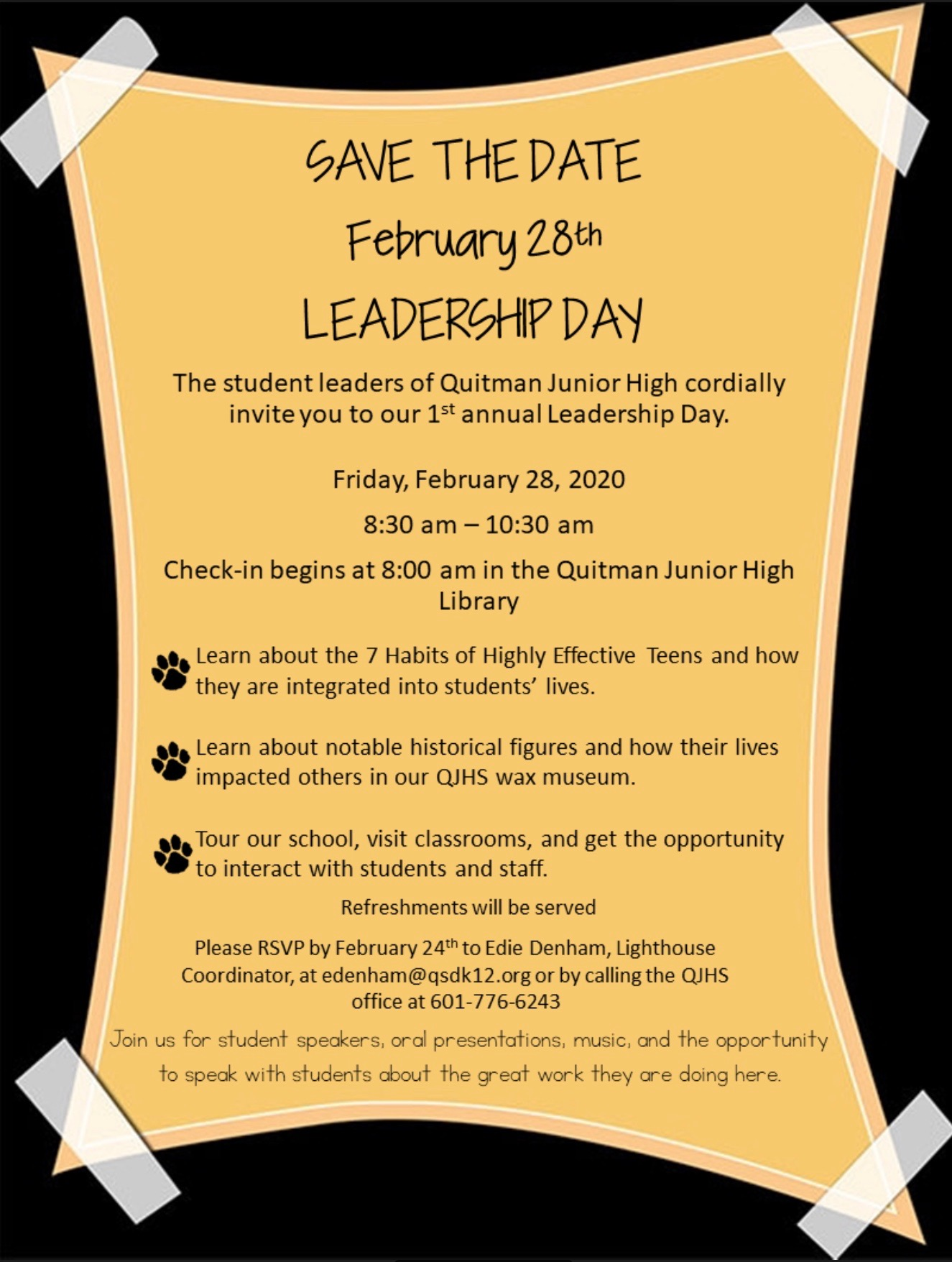 A flyer for Leadership Day at QJH