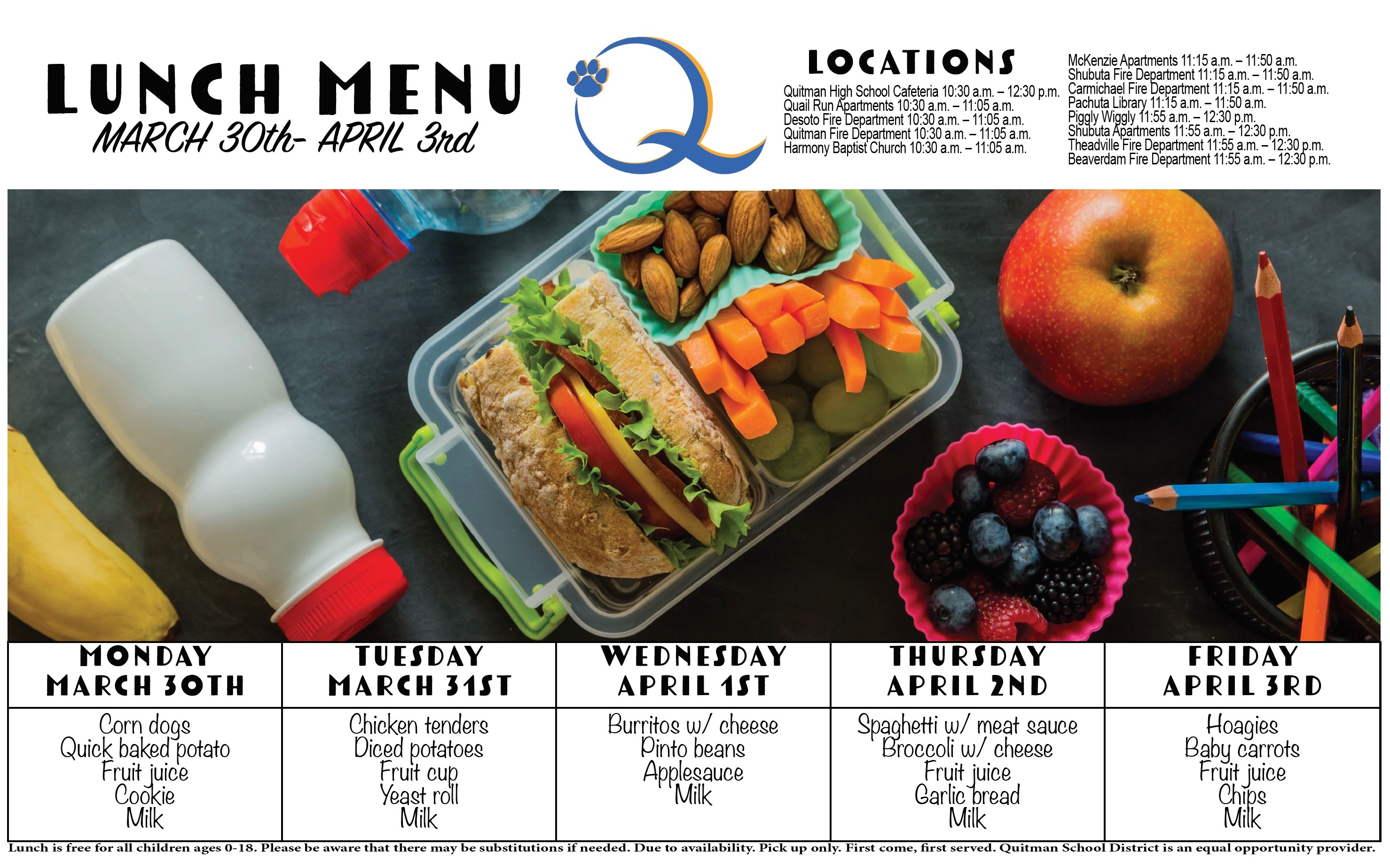 This is a screenshot of the week's lunch menu.