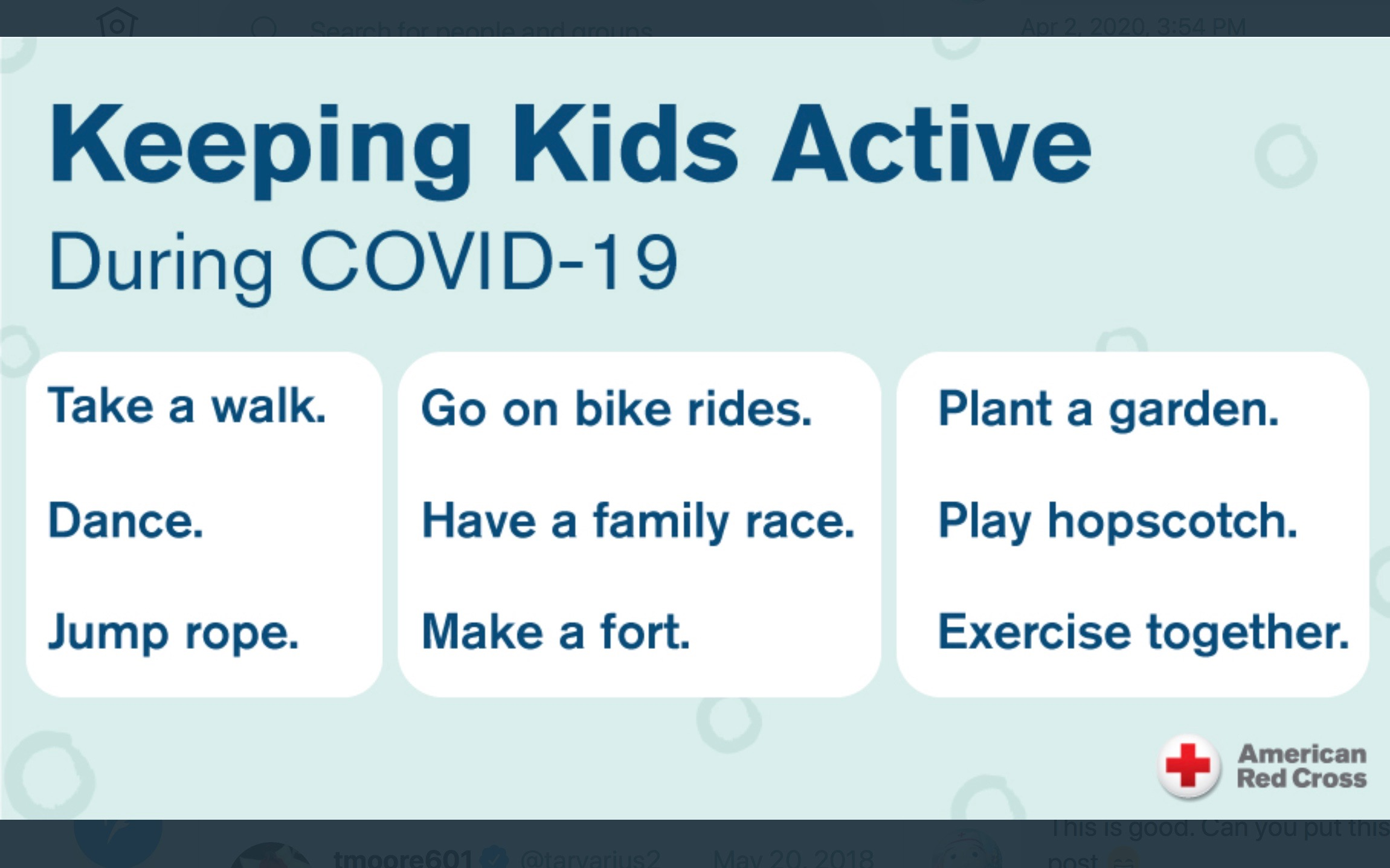 A screenshot of ways to keep kids active.
