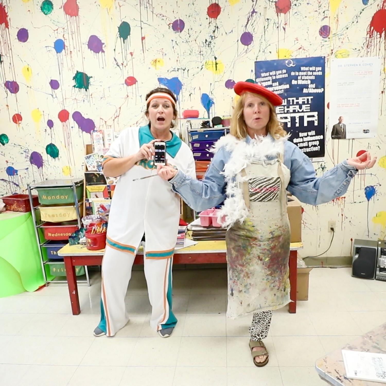 Mrs. Hampton and Mrs. Myrick provide a virtual P.E. lesson for students.