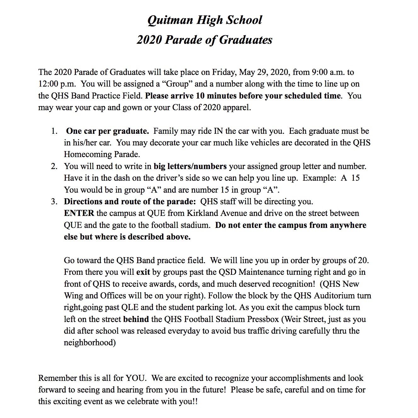 This is a screenshot of a letter to students.
