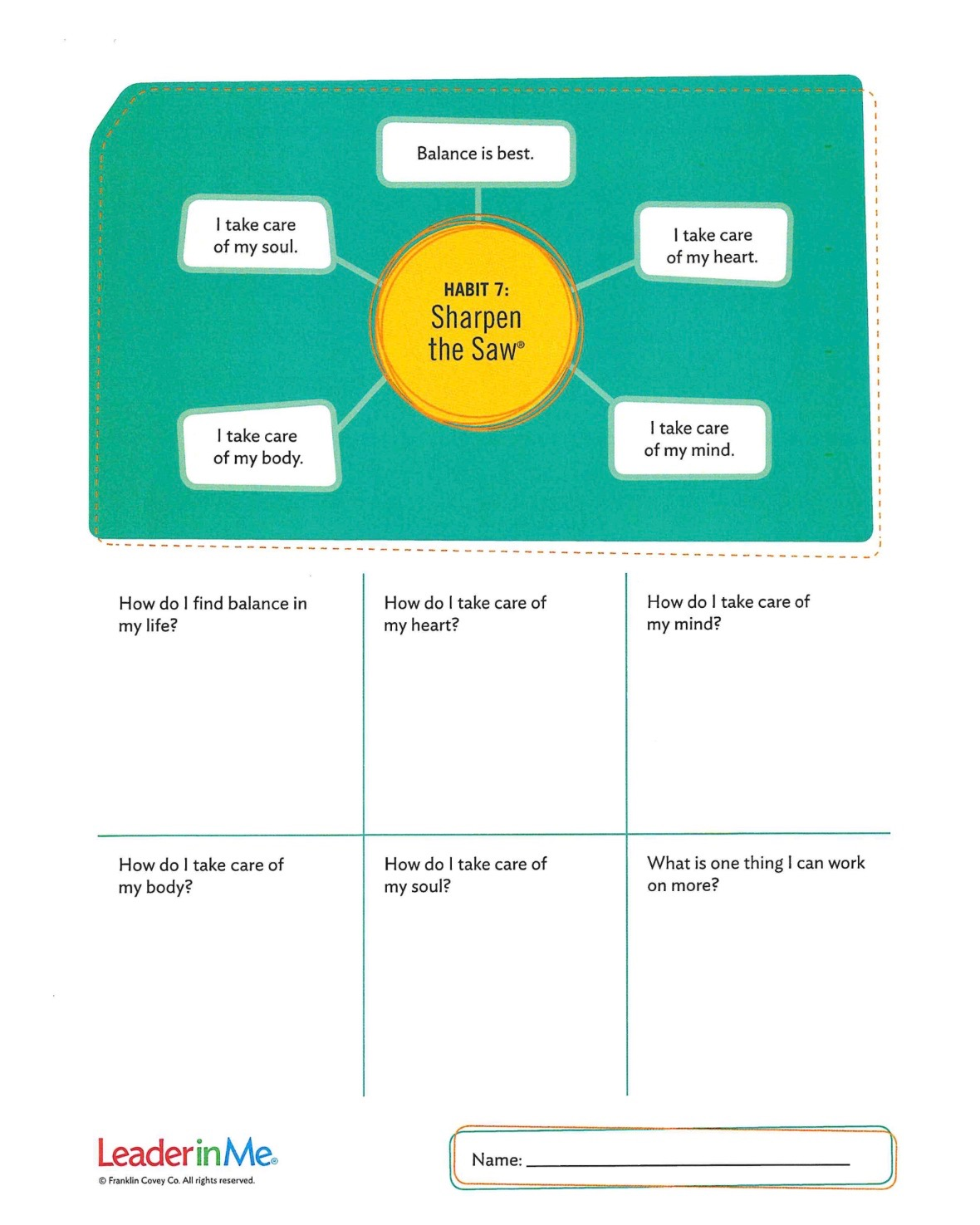 This is a screenshot of a 7 habit worksheet.